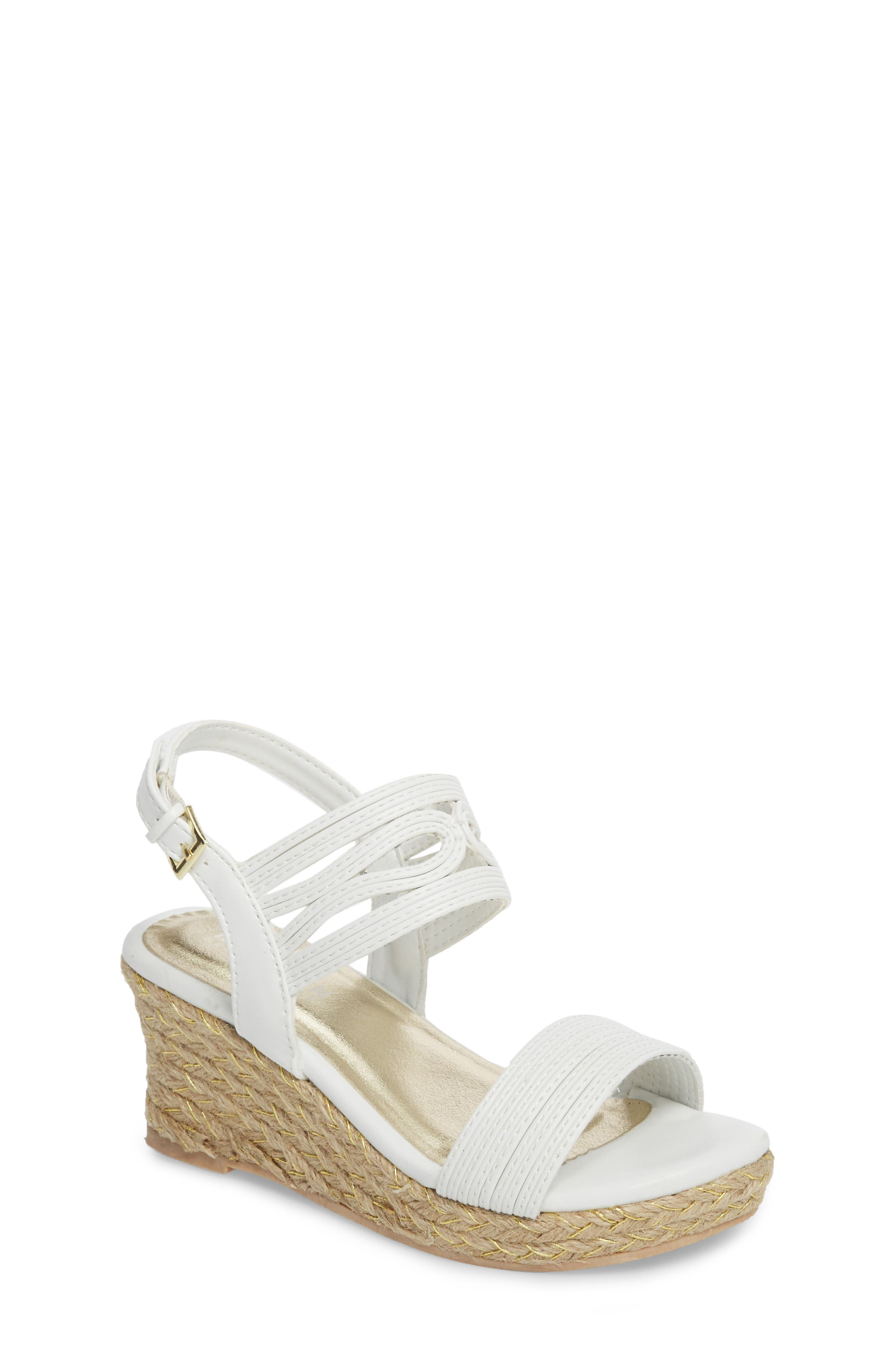 Reed Day Wedge Sandal,                             Main thumbnail 1, color,                             WHITE