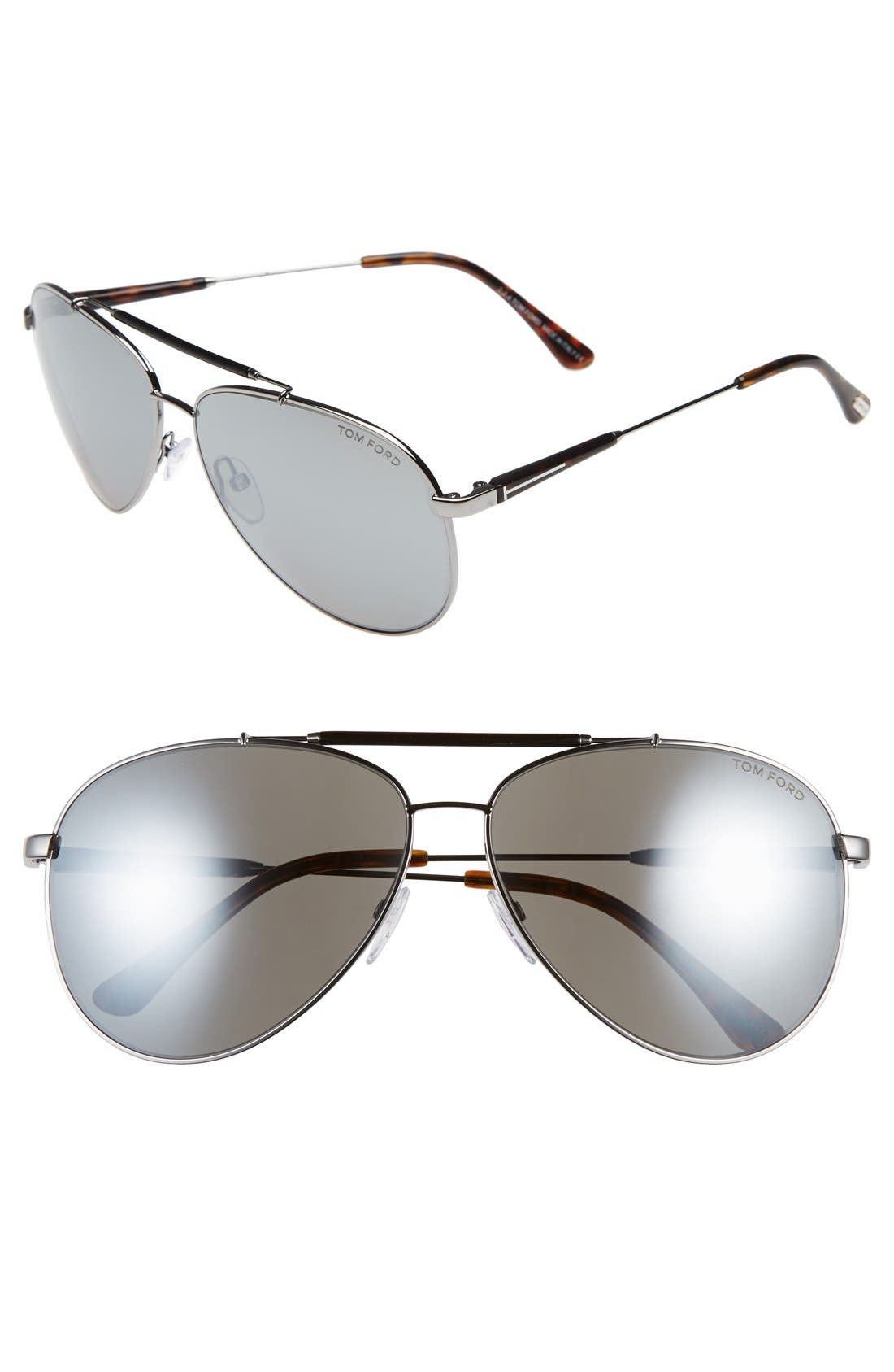 'Rick' 62mm Aviator Sunglasses,                         Main,                         color, ROSE GOLD/ BLACK/ GREY/ SILVER