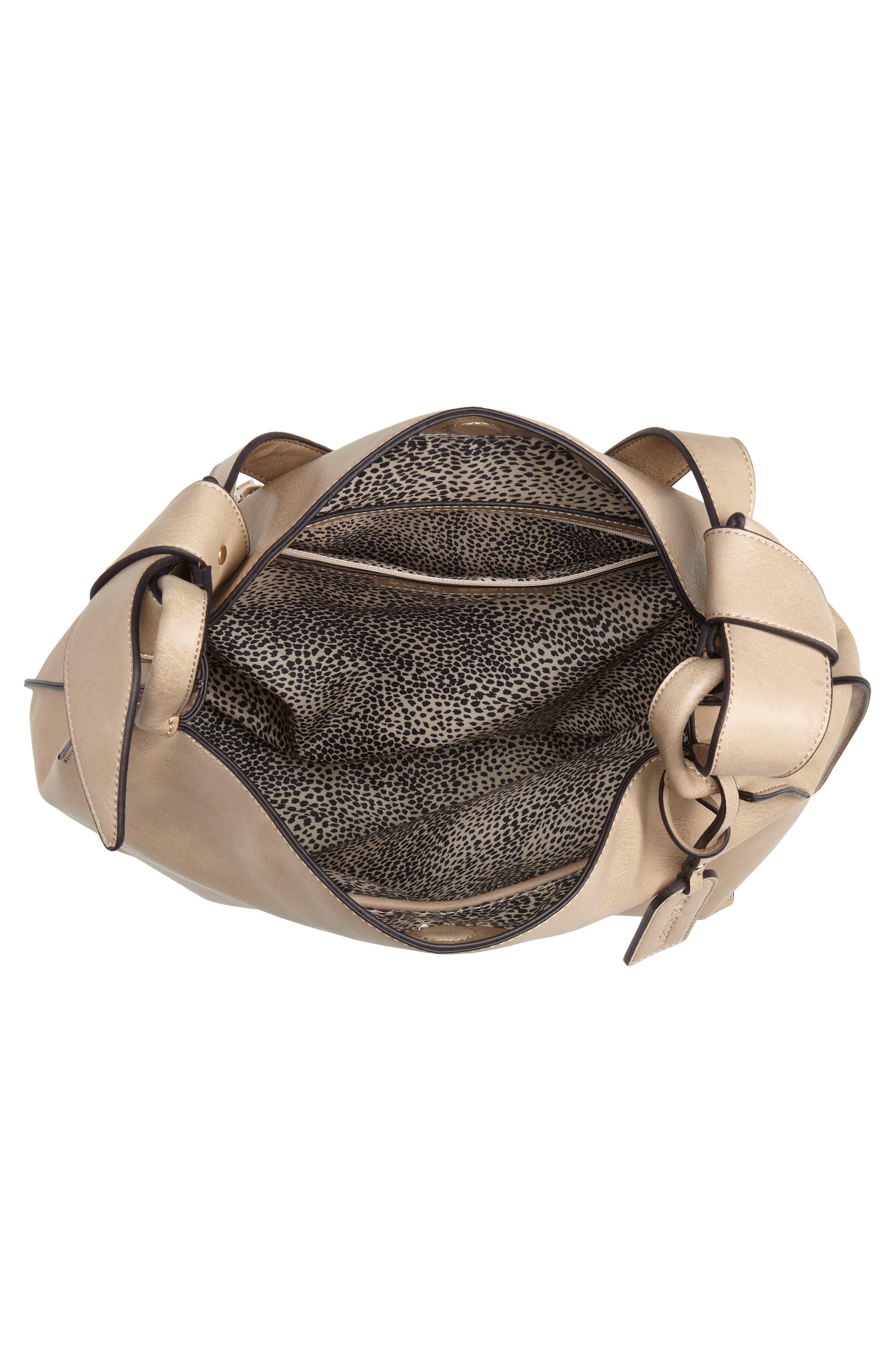 Josah Faux Leather Shoulder Bag,                             Alternate thumbnail 5, color,                             SAFARI