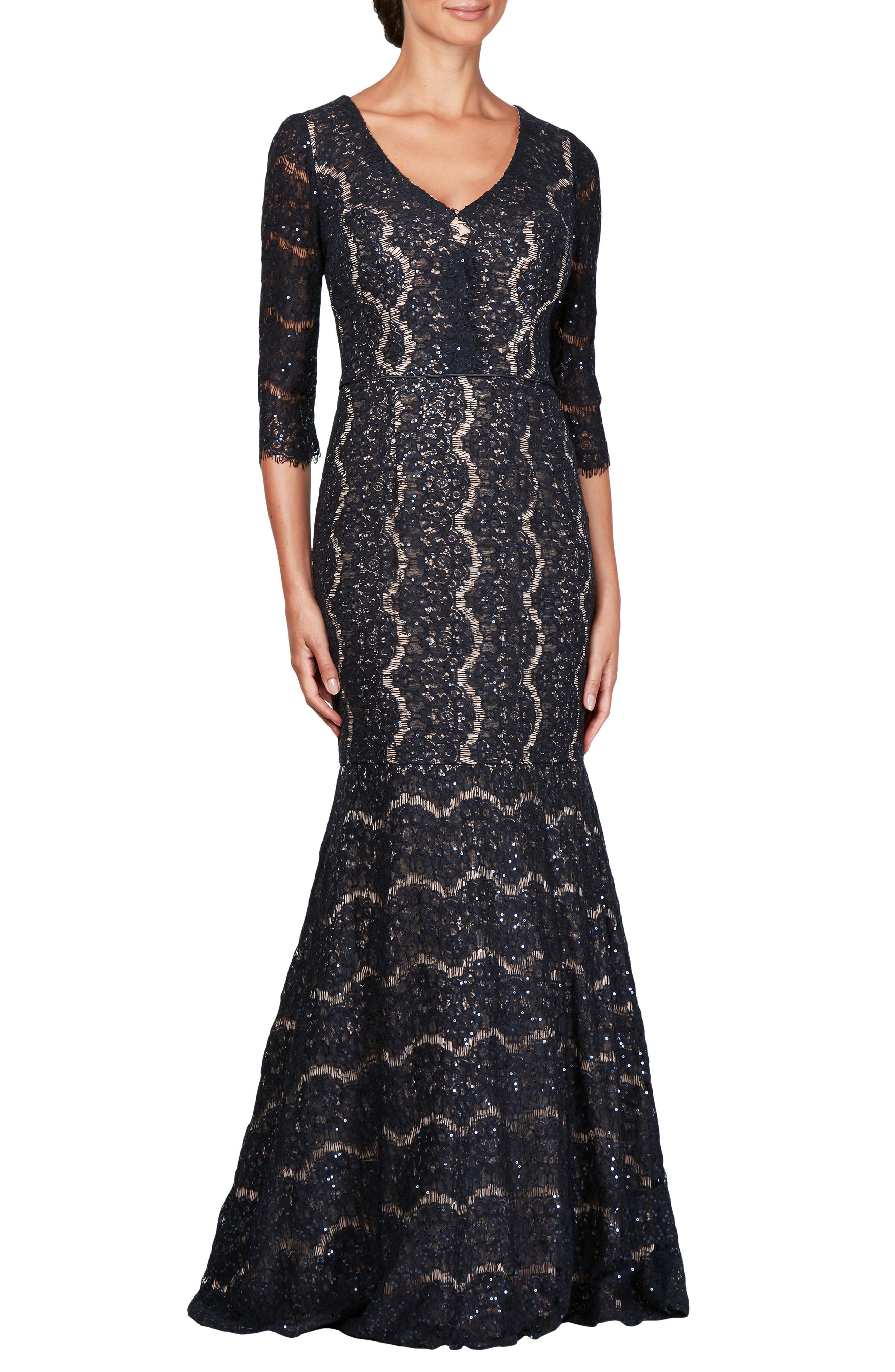 Alex Evenings Sequin Lace Mermaid Evening Dress