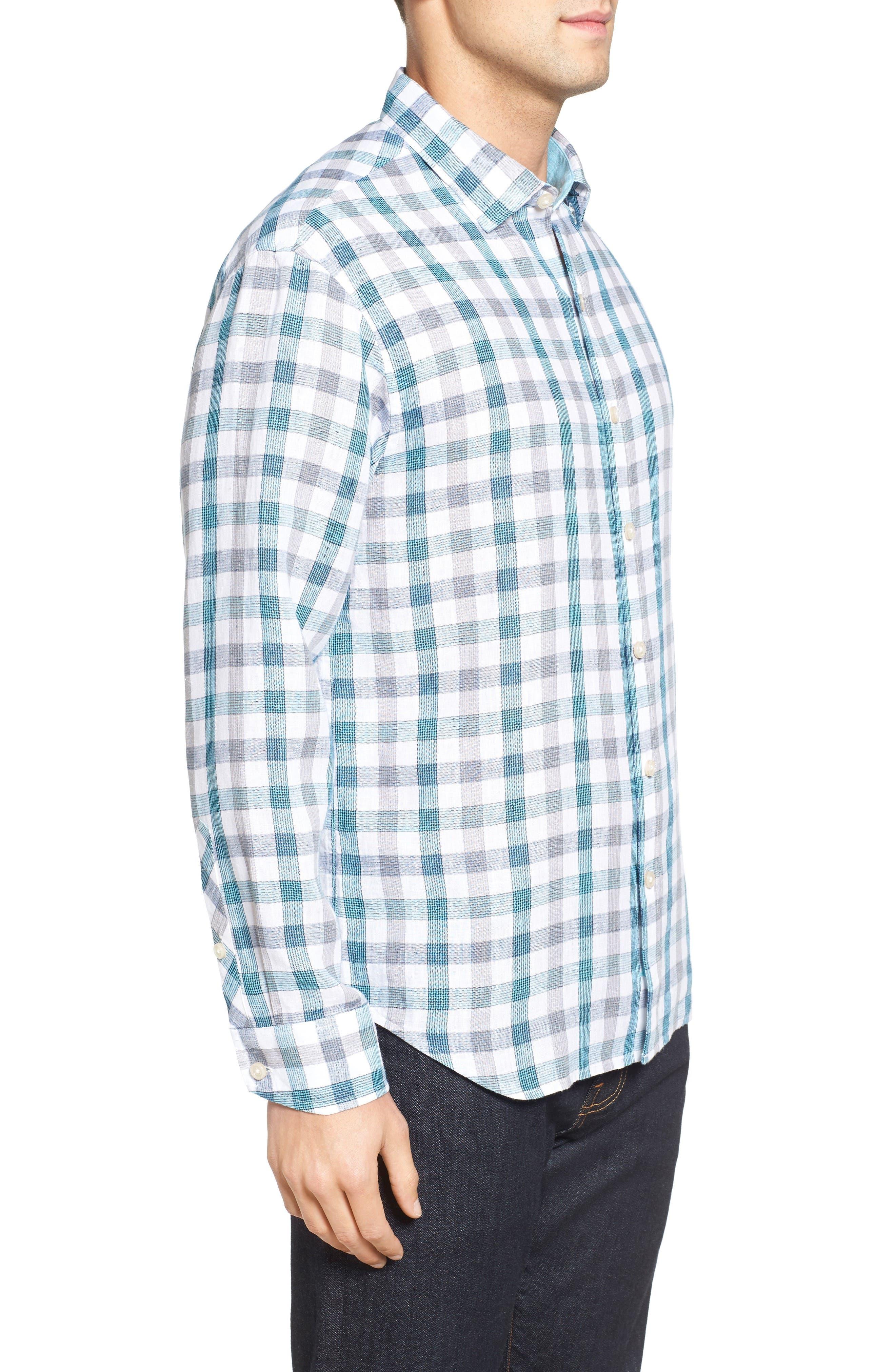 Thira Check Linen Sport Shirt,                             Alternate thumbnail 3, color,