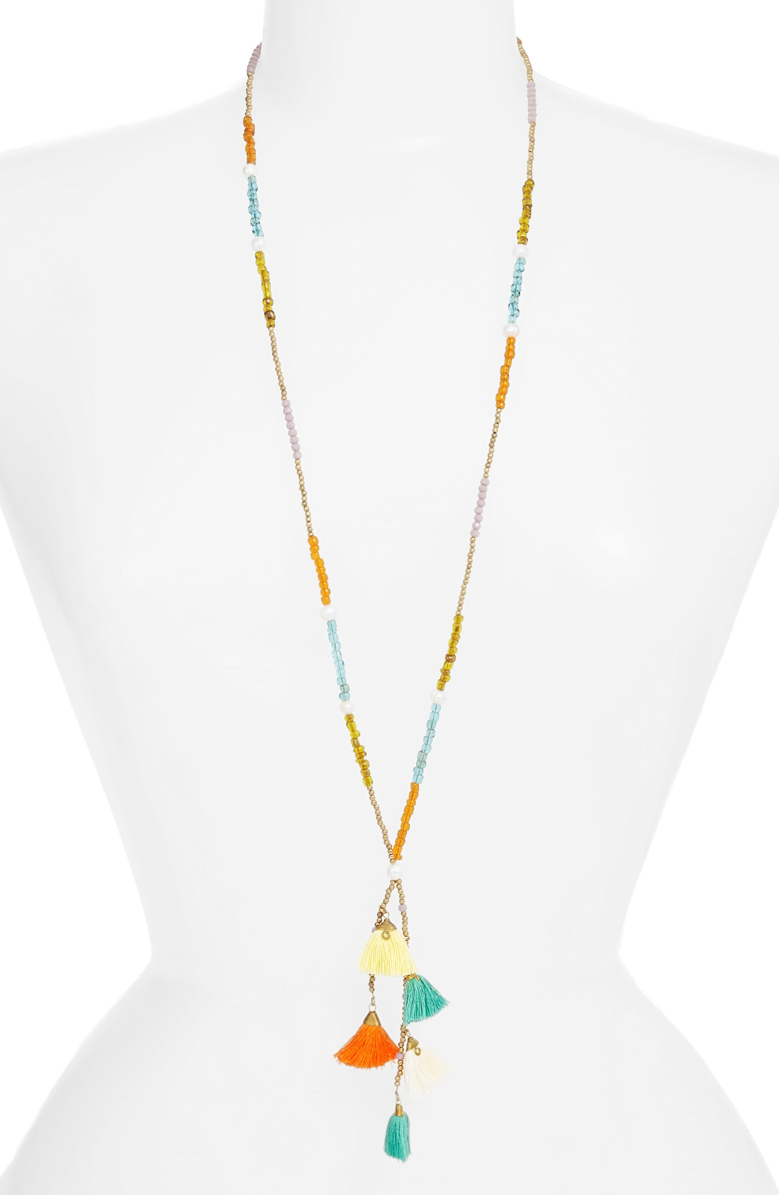 Tiny Tassel Beaded Necklace,                         Main,                         color, 800