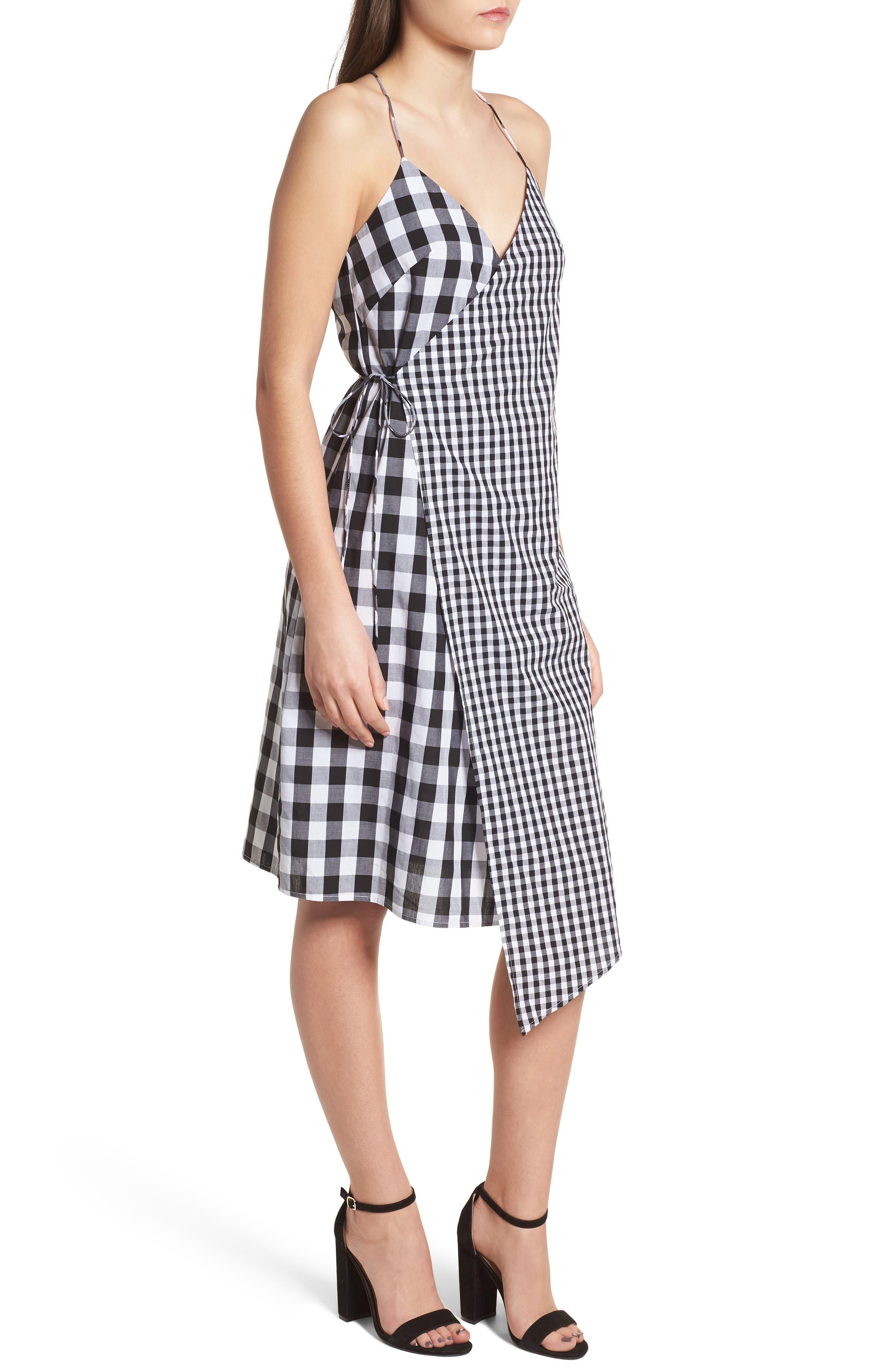 Mixed Gingham Print Wrap Dress,                             Alternate thumbnail 3, color,                             001