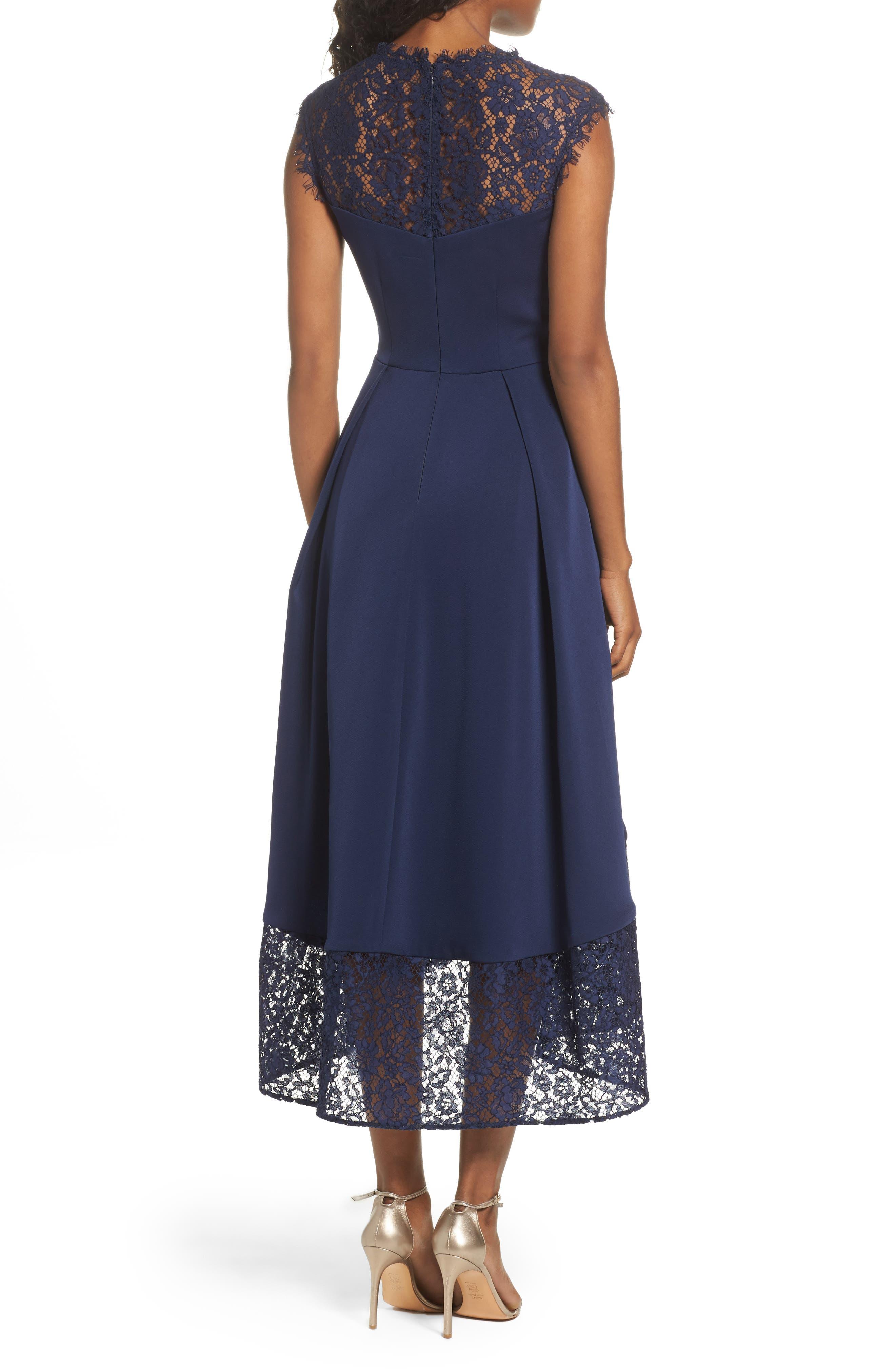 Allachie Lace & Crepe High/Low Midi Dress,                             Alternate thumbnail 2, color,                             414