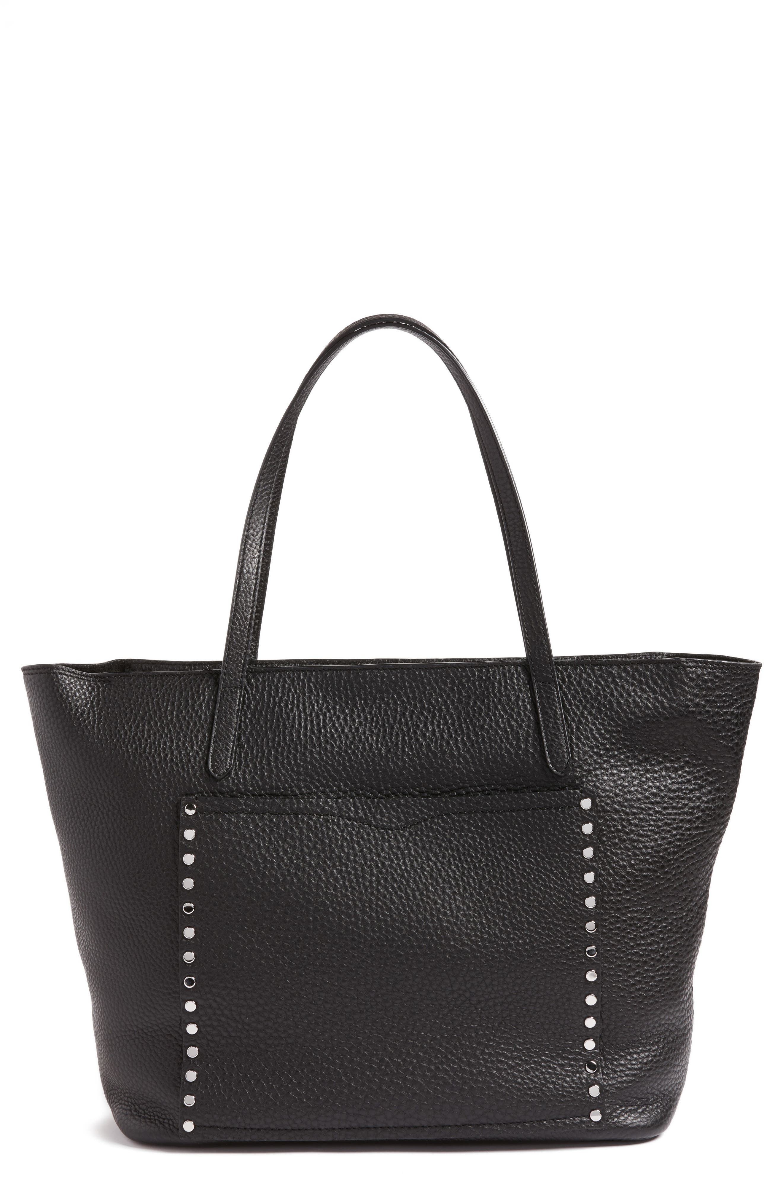 Unlined Front Pocket Leather Tote,                         Main,                         color, 001