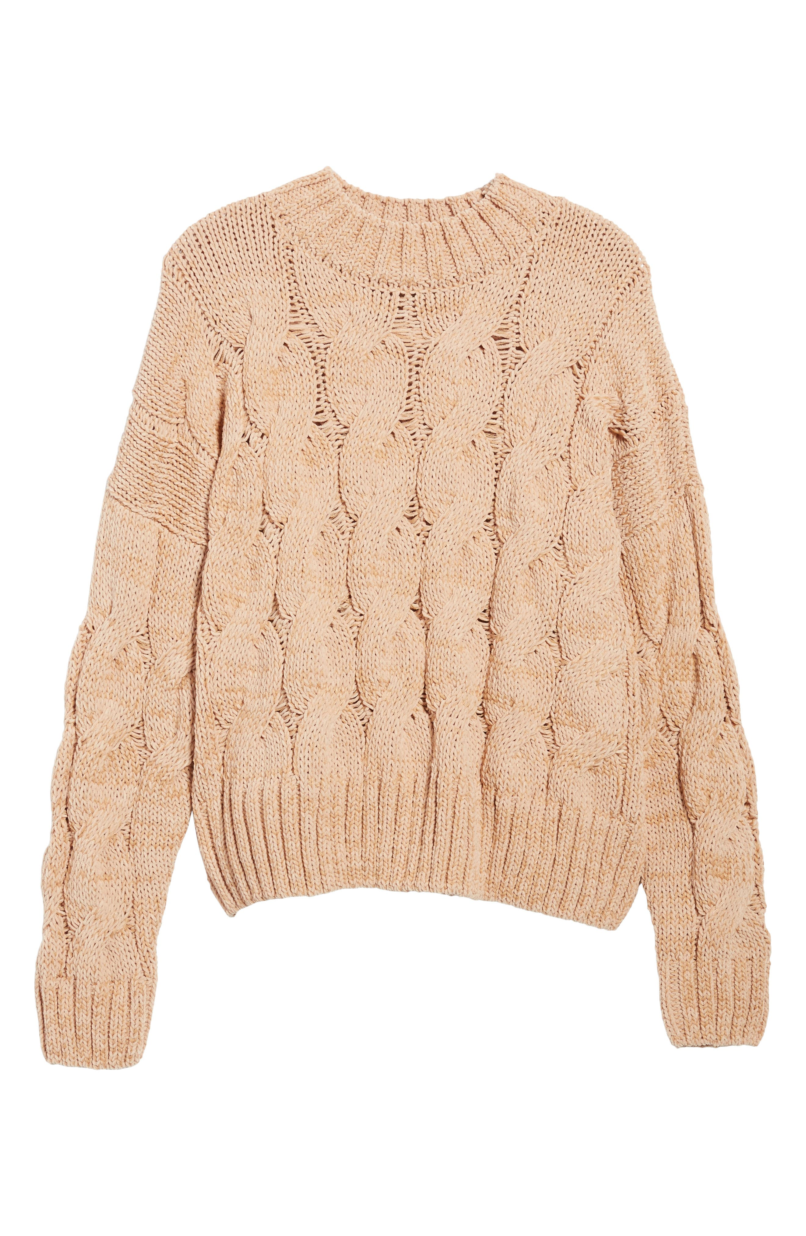 Cable Knit Sweater,                             Alternate thumbnail 6, color,                             650