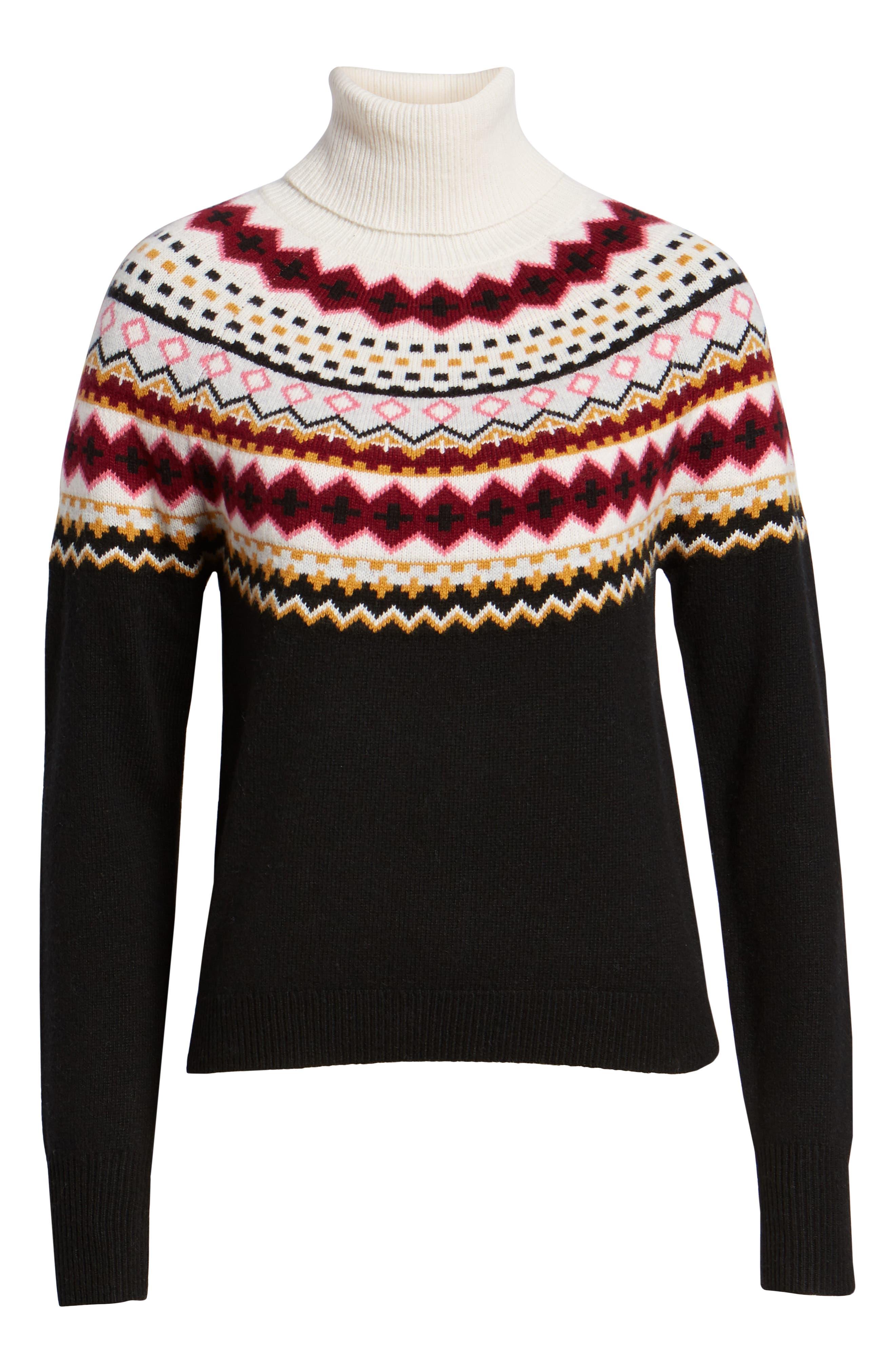Fair Isle Turtleneck Sweater,                             Alternate thumbnail 6, color,                             001
