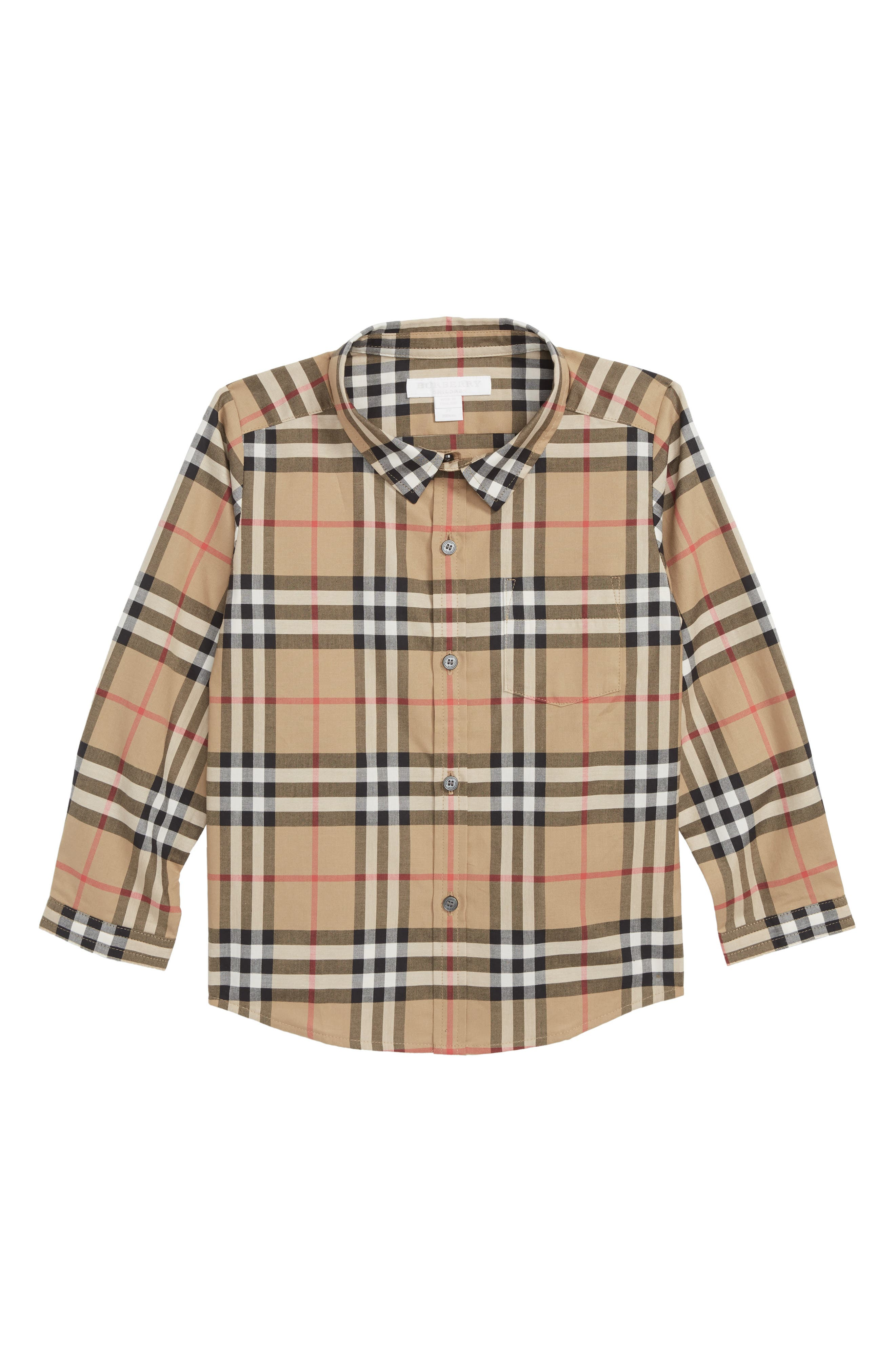 Fred Check Shirt,                         Main,                         color, ANTIQUE YELLOW
