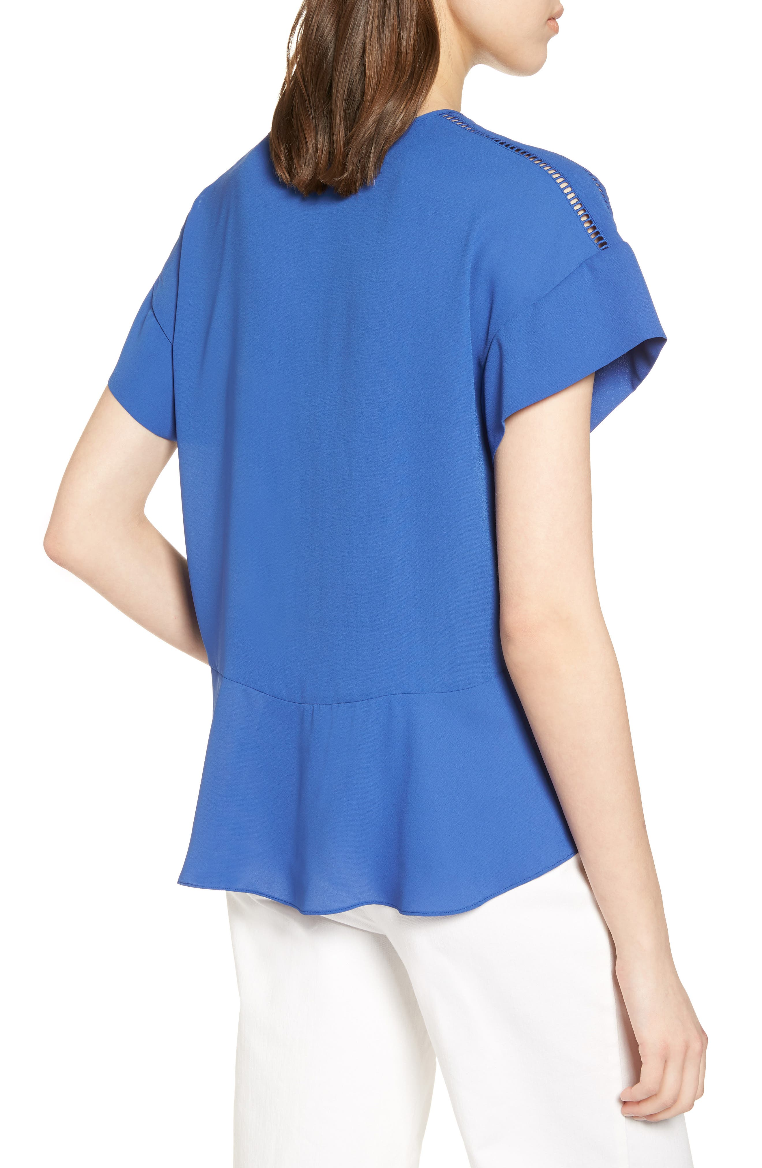 Ruffle Sleeve Peplum Stretch Cotton Blend Top,                             Alternate thumbnail 8, color,