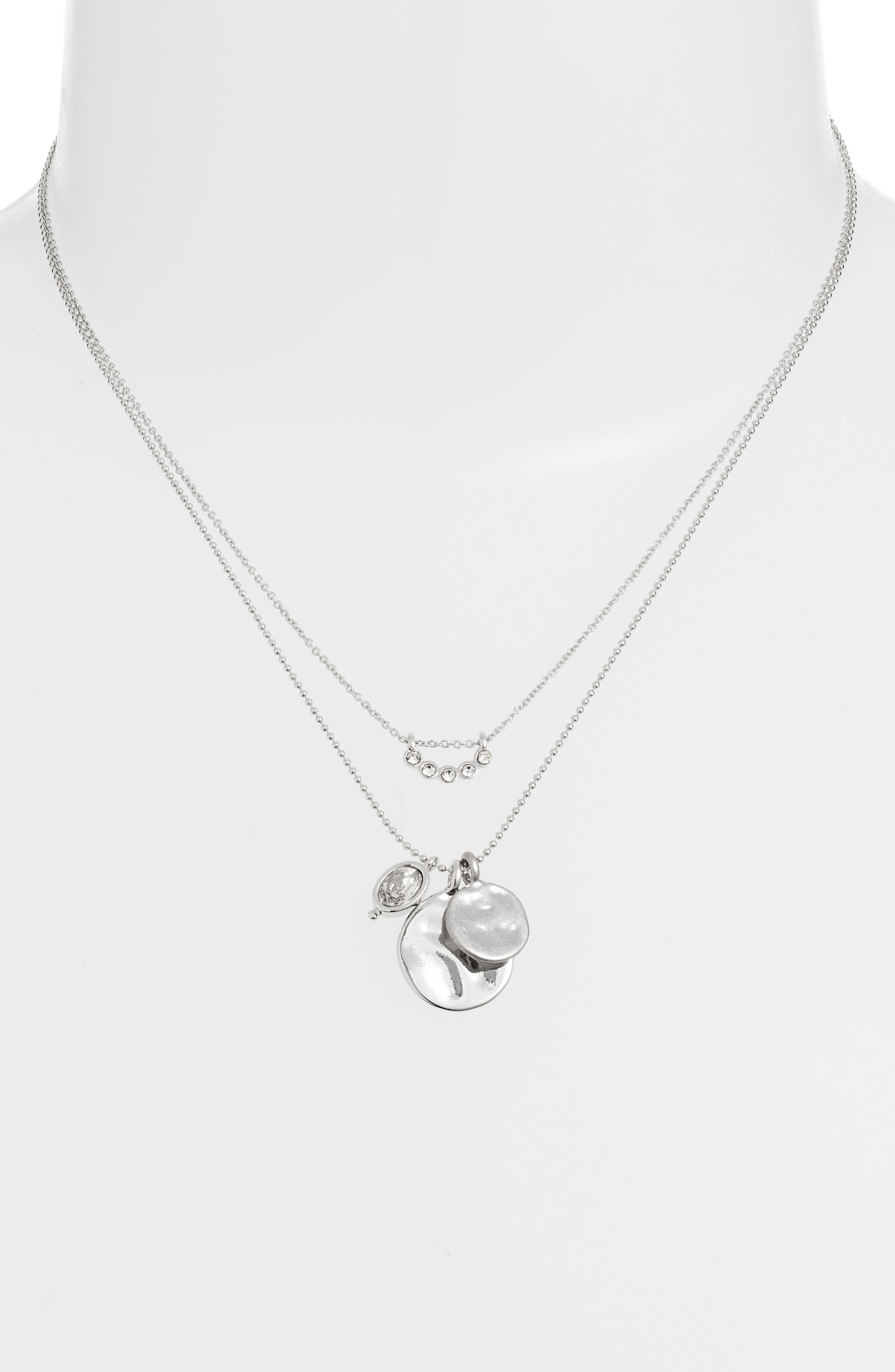 TREASURE & BOND,                             Layered Charm Necklace,                             Alternate thumbnail 2, color,                             CLEAR- RHODIUM