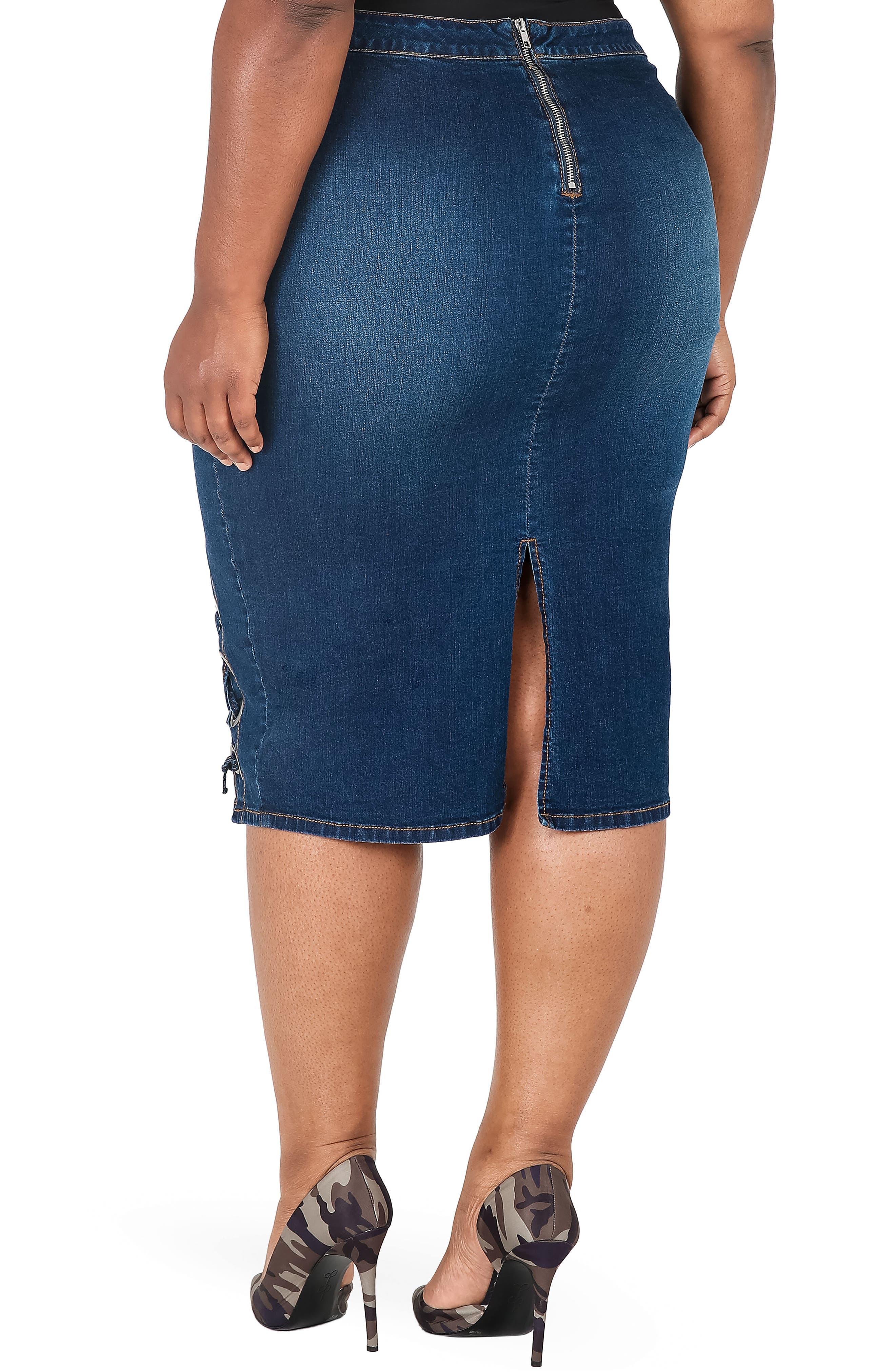 Eula Denim Skirt,                             Alternate thumbnail 2, color,                             BLUE