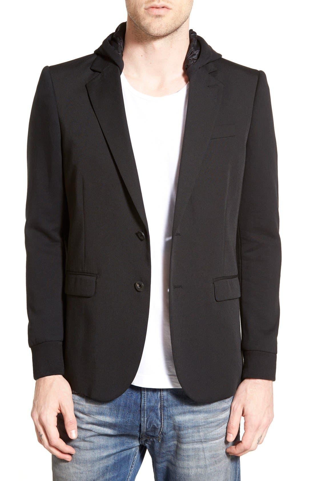DIESEL<SUP>®</SUP> 'J-Swesl' Hooded Blazer, Main, color, 001