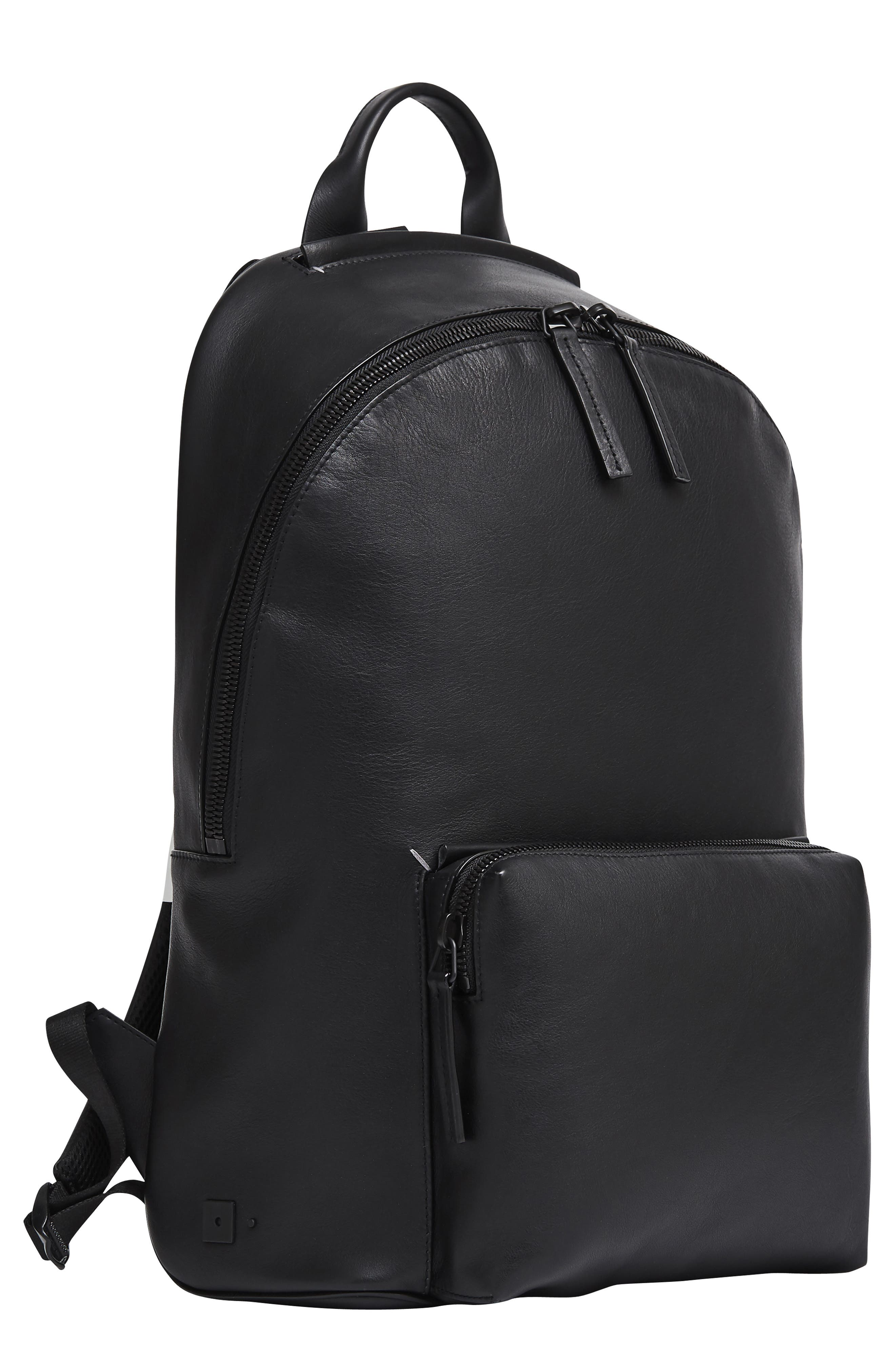 Leather Backpack,                         Main,                         color, BLACK LEATHER