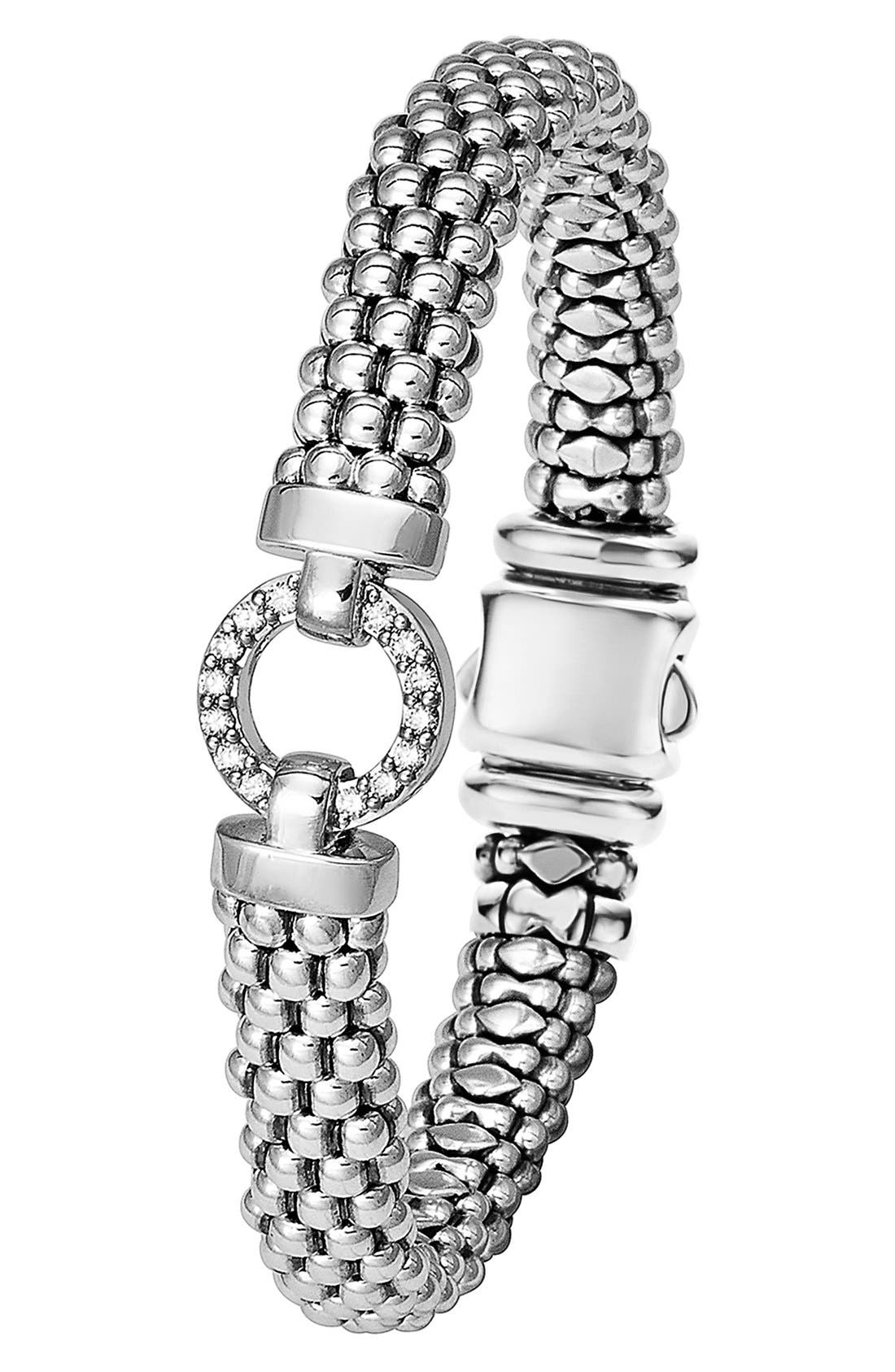 'Enso - Circle Game' Diamond Caviar Rope Bracelet,                             Alternate thumbnail 2, color,                             SILVER