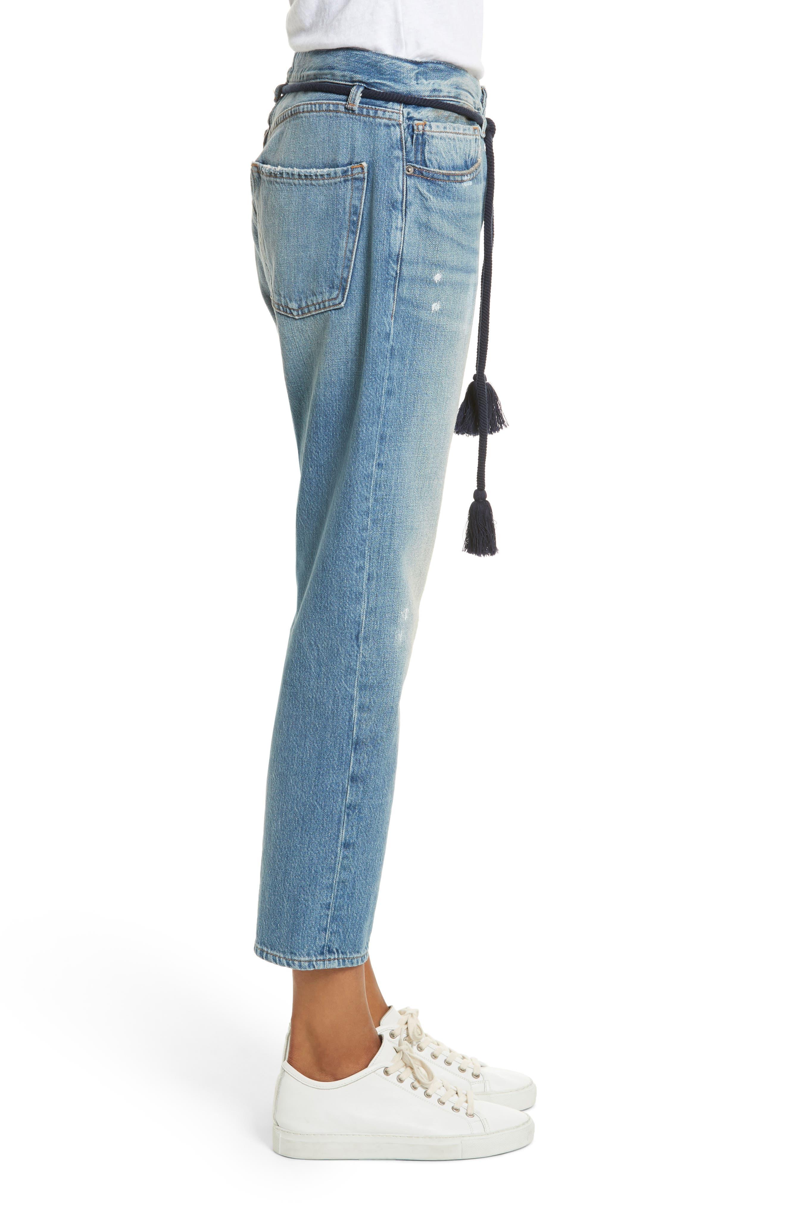 Le Original Tassel Tie High Waist Jeans,                             Alternate thumbnail 3, color,