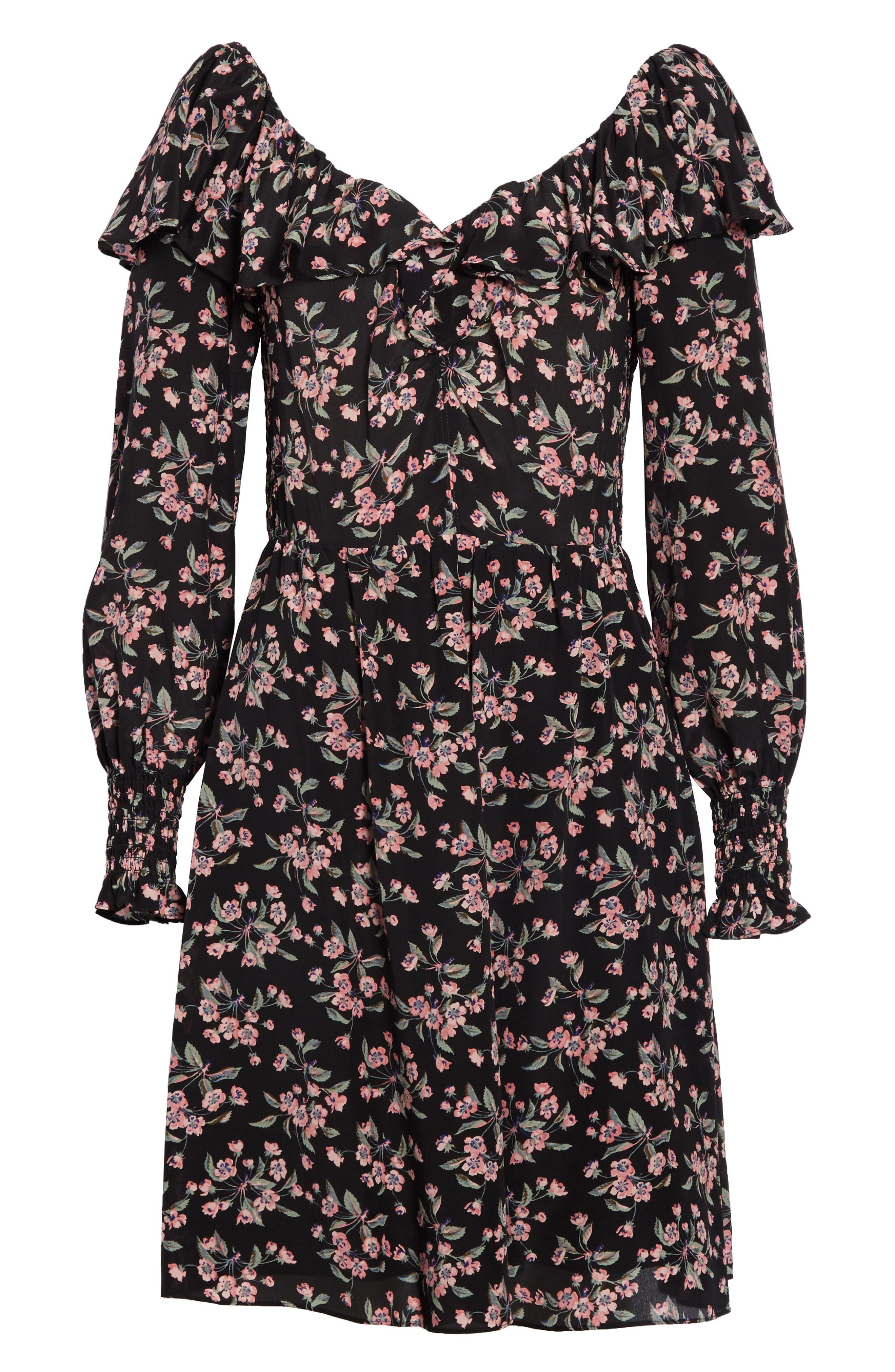 REBECCA TAYLOR,                             Tilda Silk Ruffle Dress,                             Alternate thumbnail 7, color,                             014