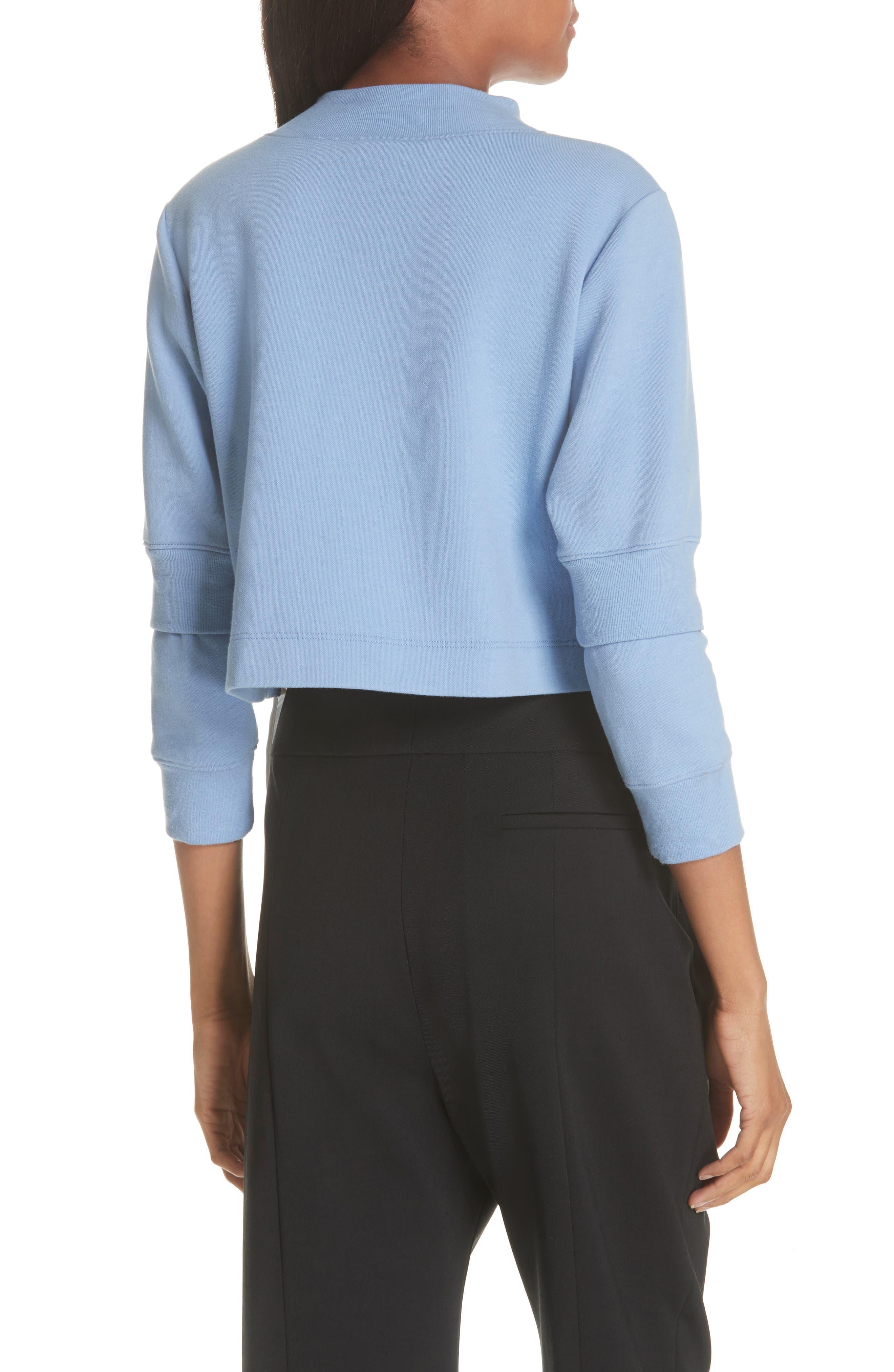 Asymmetrical Mixed Media Sweatshirt,                             Alternate thumbnail 2, color,                             LIGHT BLUE/ WHITE