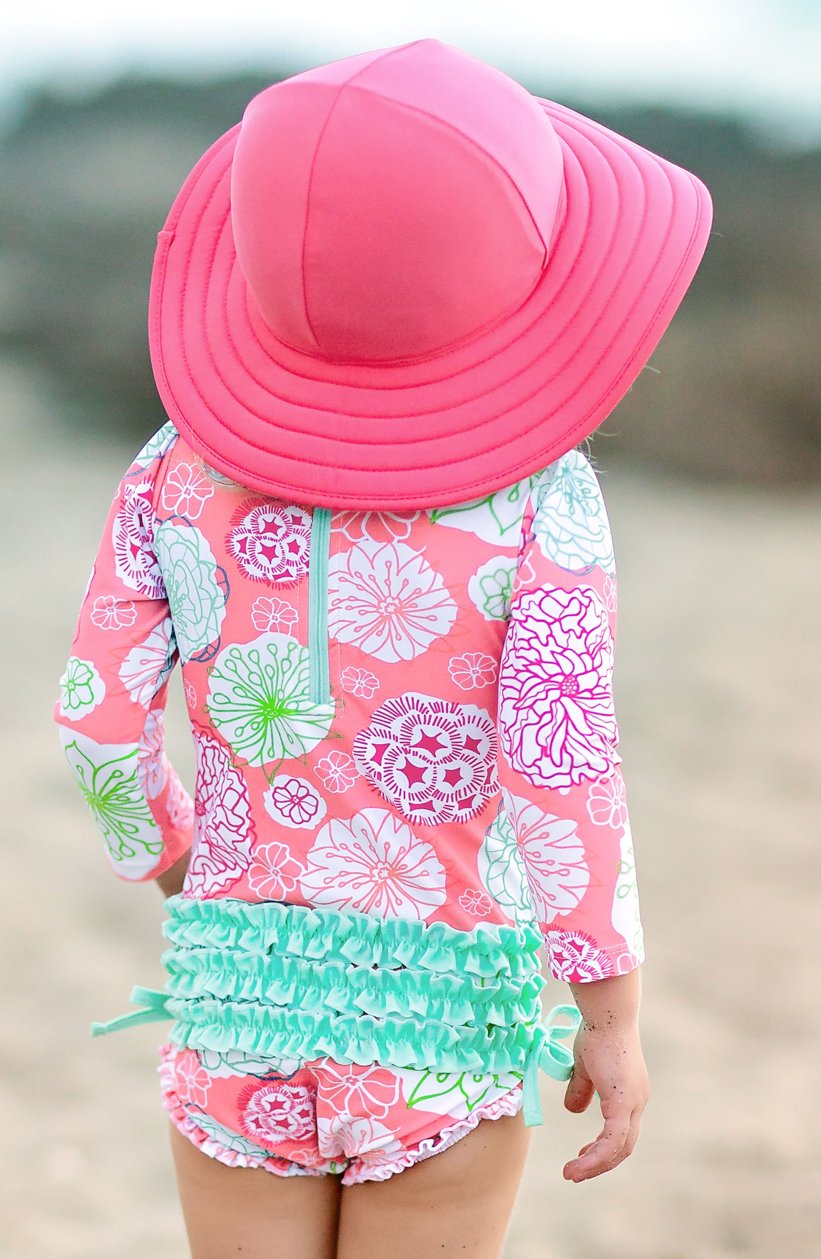 Tropical Garden One-Piece Rashguard Swimsuit & Reversible Sun Hat Set,                             Alternate thumbnail 4, color,                             PINK