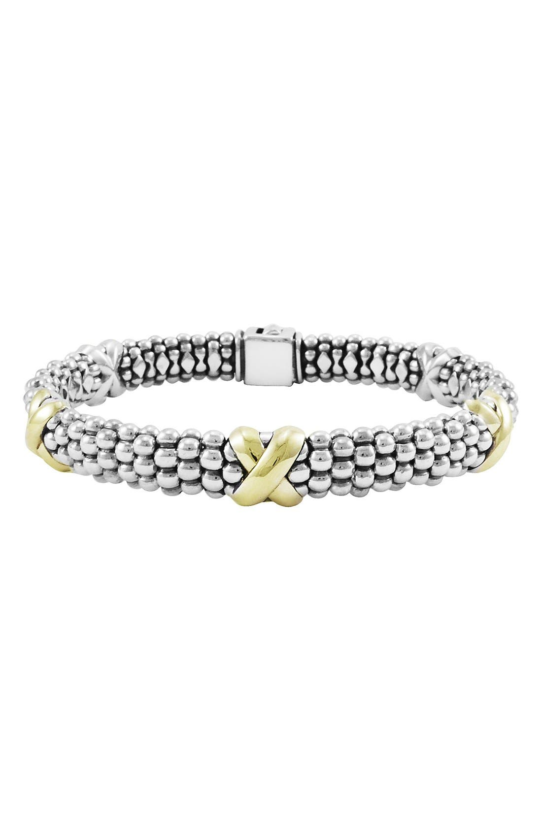 'X' Two-Tone Rope Bracelet,                             Main thumbnail 1, color,                             STERLING SILVER/ GOLD