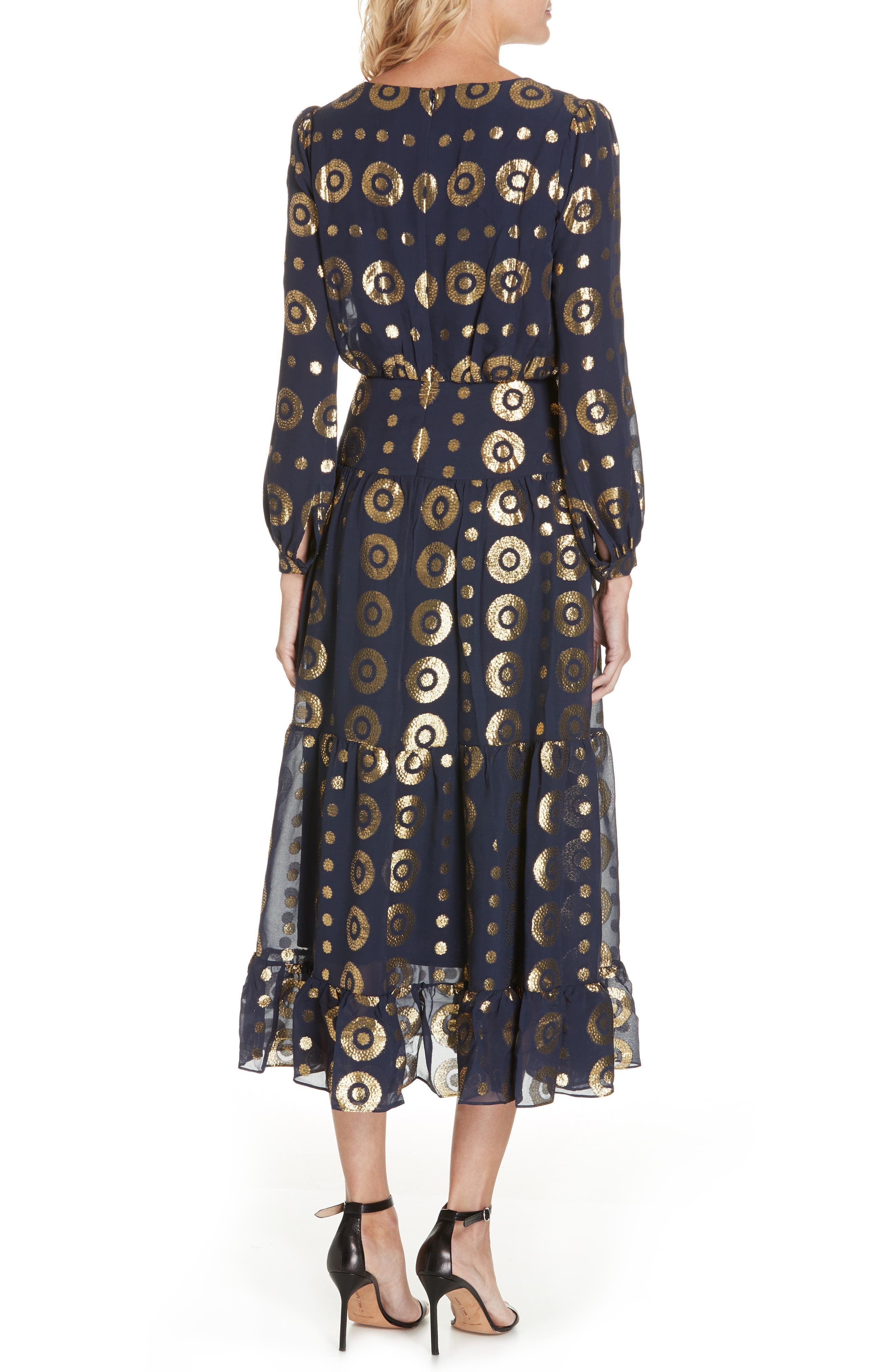 Isabel Fil Coupé Silk Blend Midi Dress,                             Alternate thumbnail 2, color,                             NAVY/ GOLD