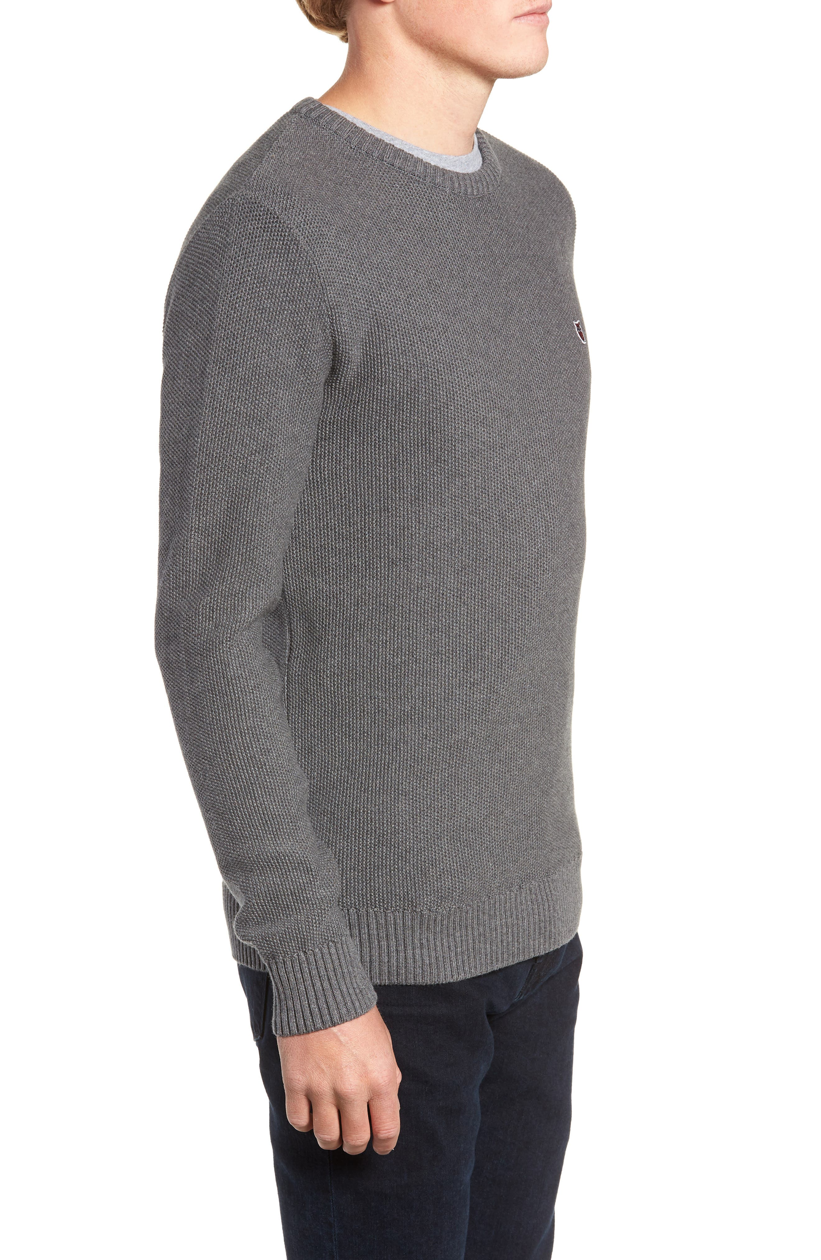 Owl Textured Sweater,                             Alternate thumbnail 3, color,                             GREY MELANGE