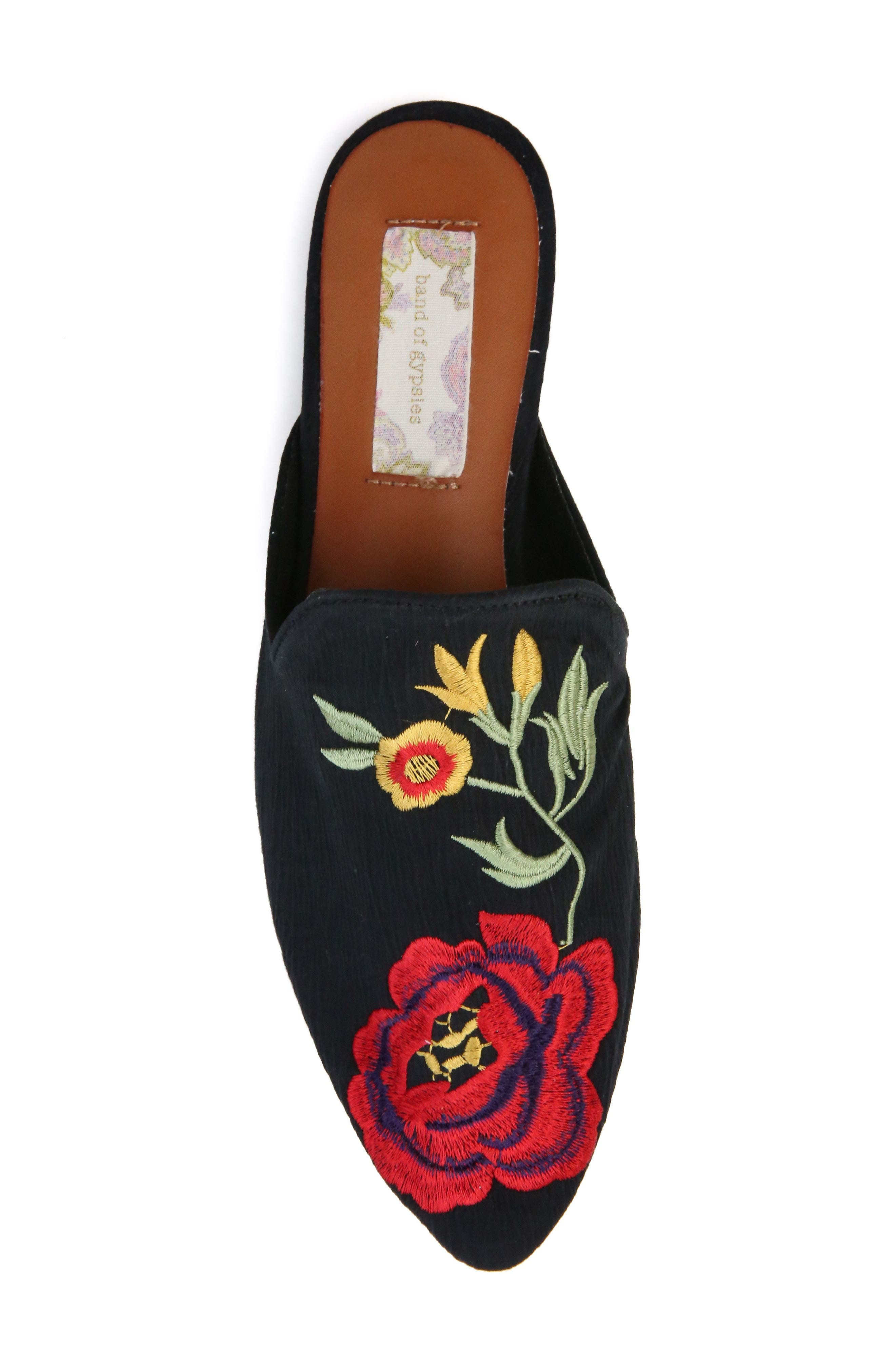BAND OF GYPSIES,                             Landslide Embroidered Mule Flat,                             Alternate thumbnail 4, color,                             001
