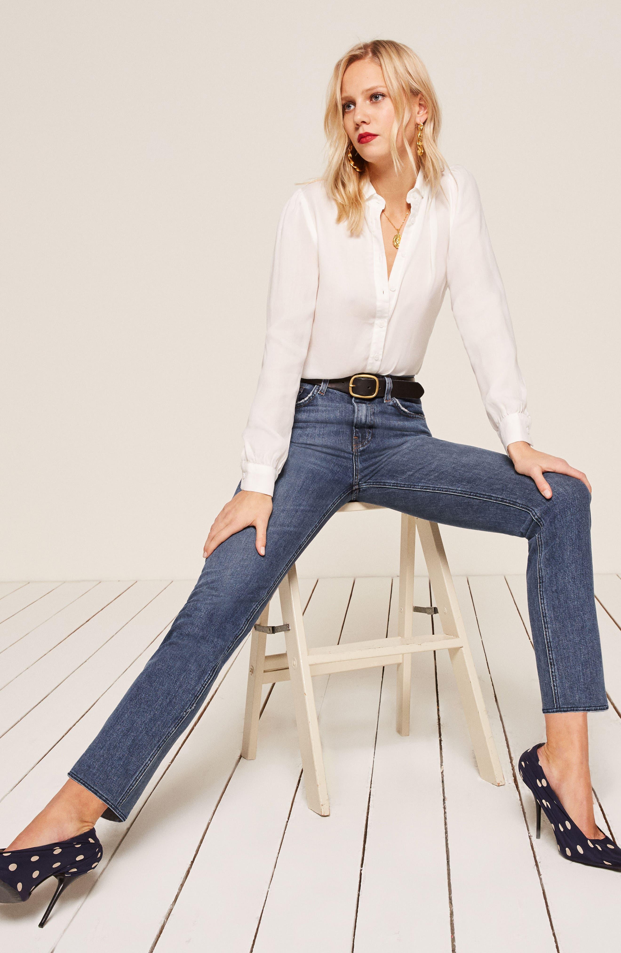 Liza High Waist Straight Leg Jeans,                             Alternate thumbnail 8, color,                             KASAI