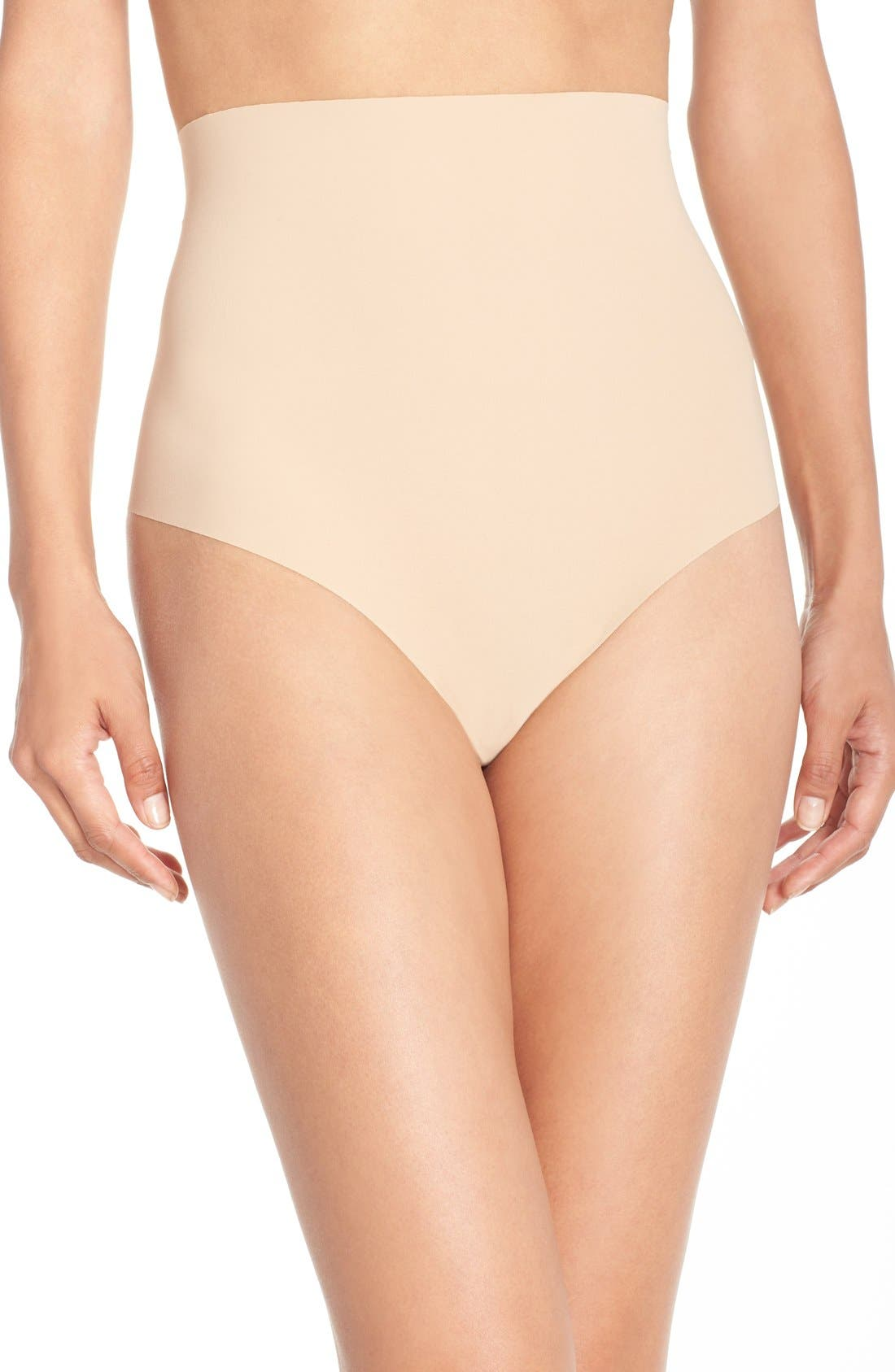 Control Top Thong,                             Main thumbnail 1, color,                             BEIGE