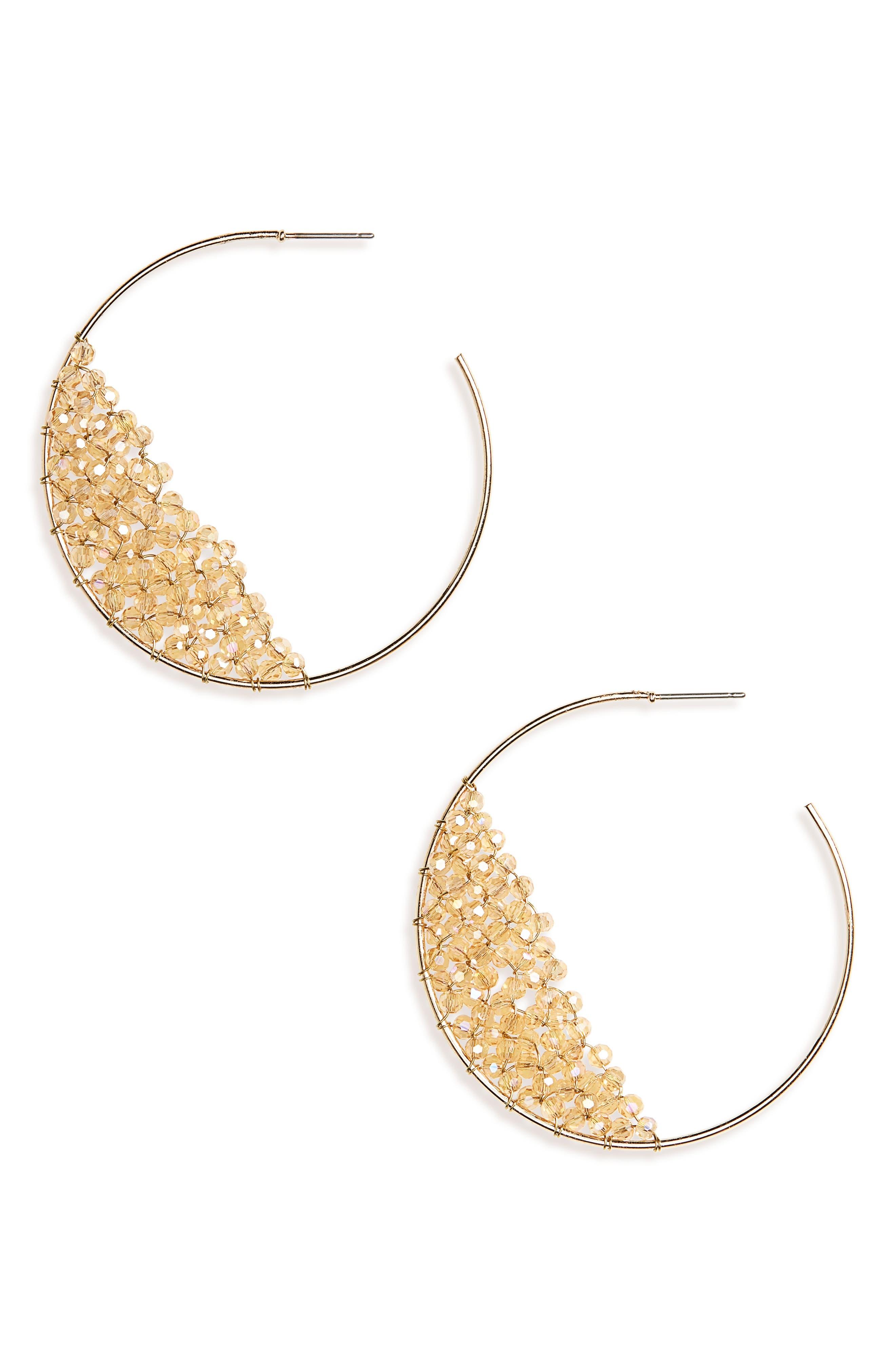 Beaded Hoop Earrings,                         Main,                         color, 710