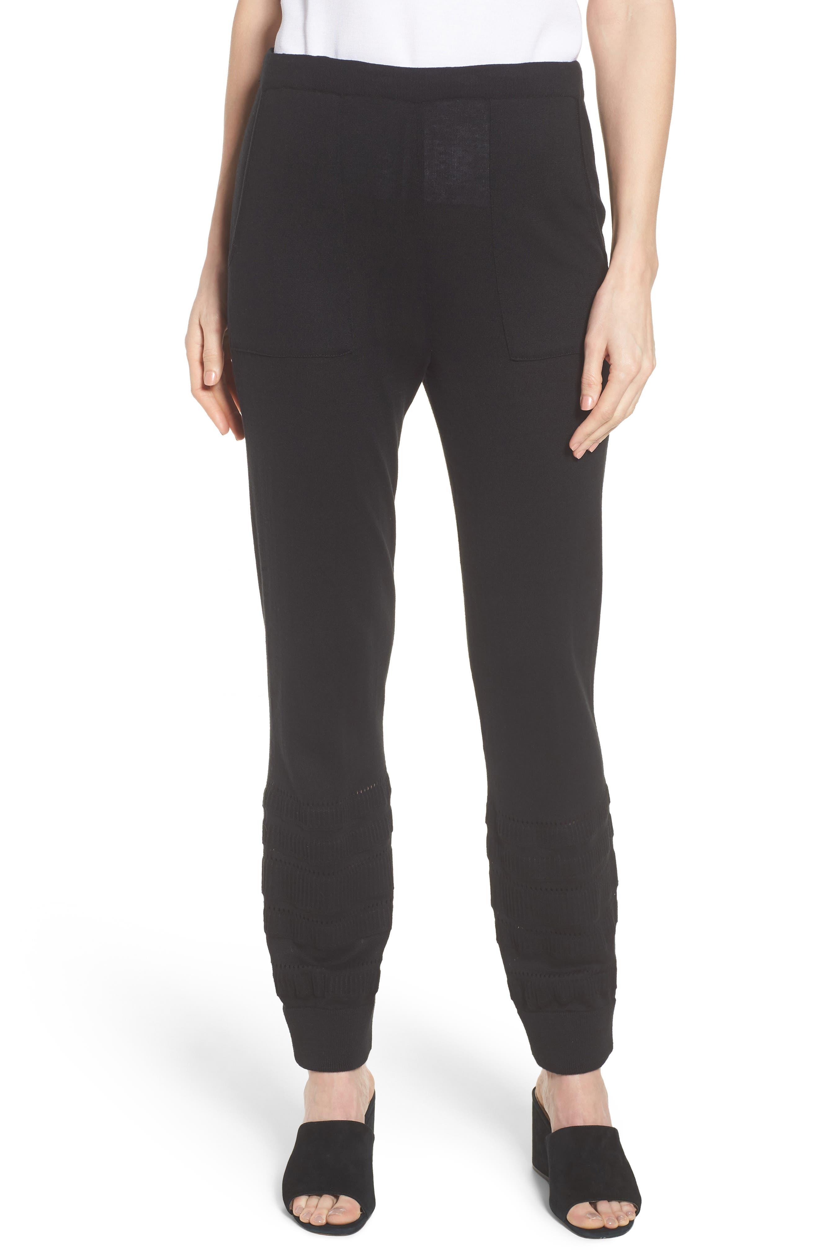Knit Ankle Pants,                         Main,                         color, BLACK