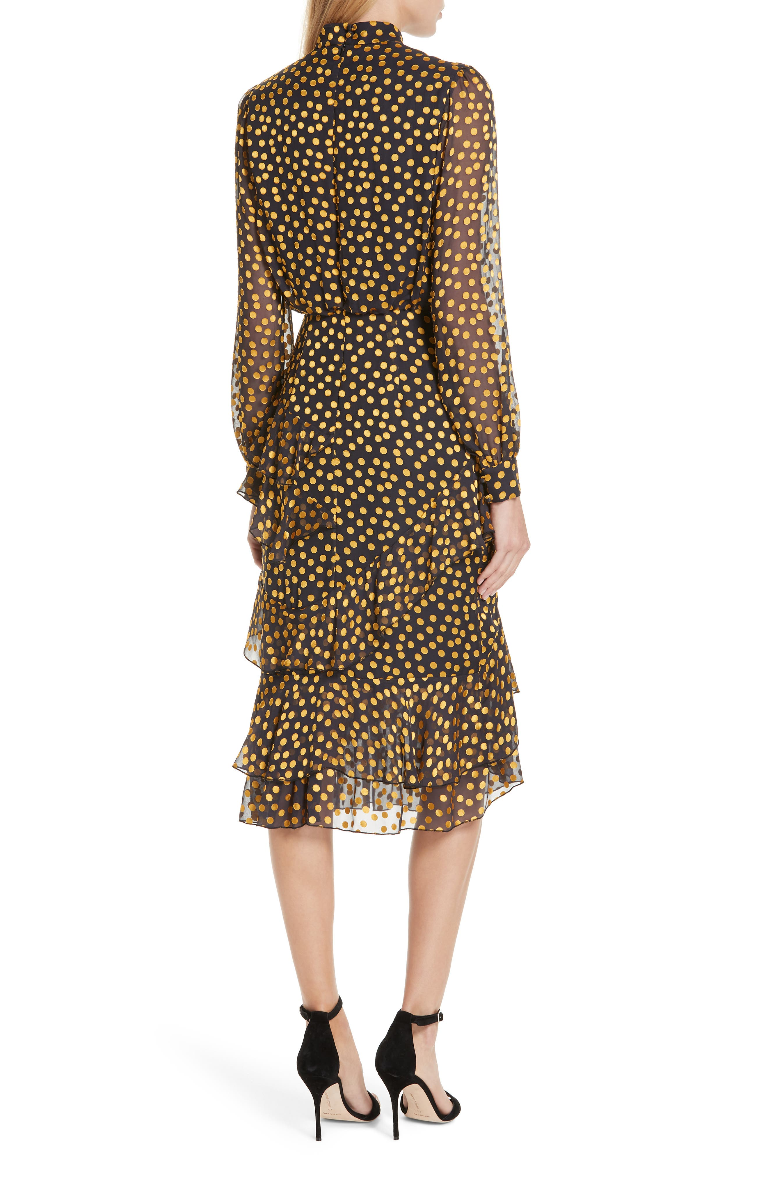 Isa Polka Dot Devoré Satin Dress,                             Alternate thumbnail 2, color,                             BLACK/ YELLOW DOTS
