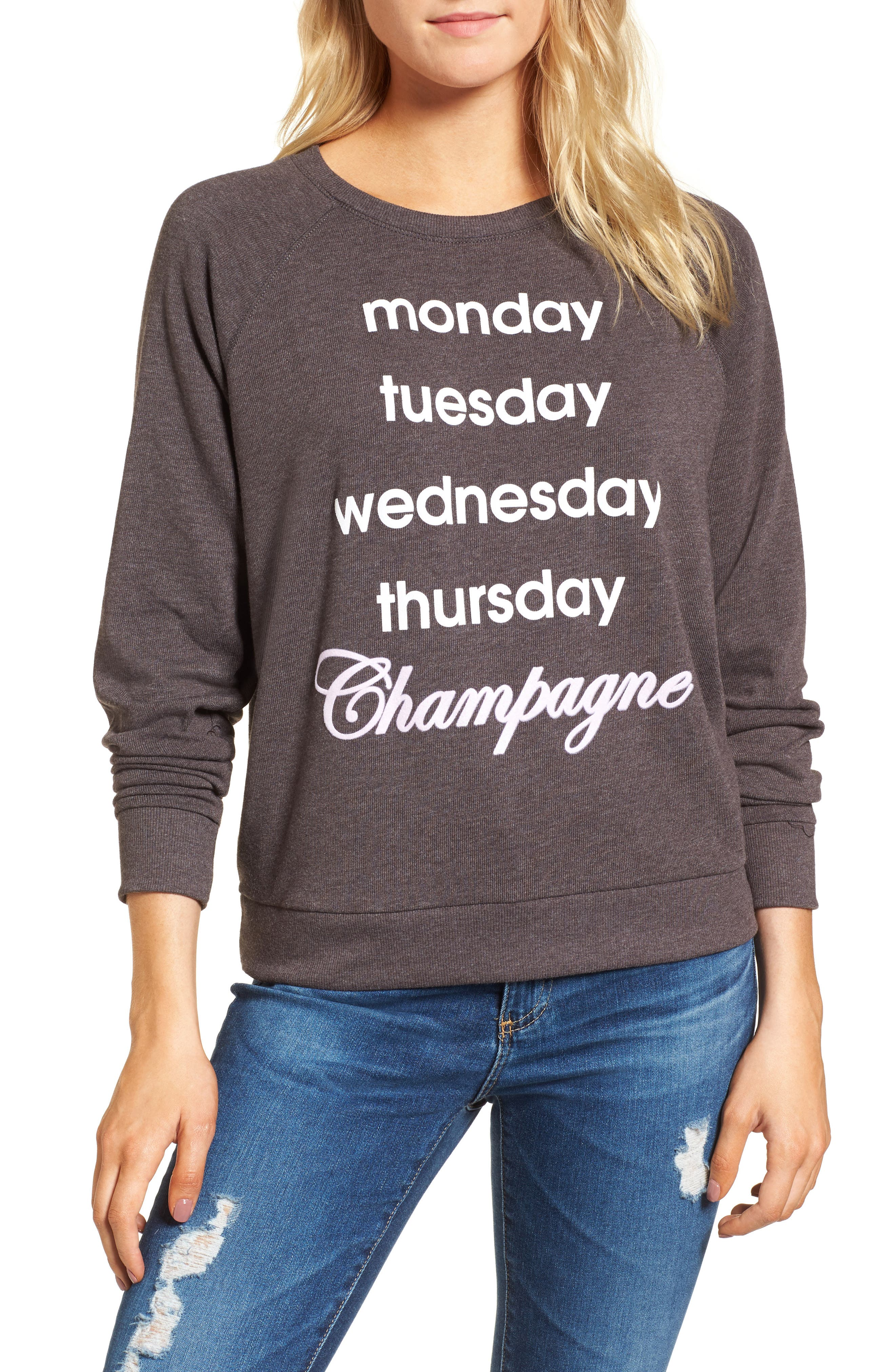Champagne Hacci Sweatshirt,                             Main thumbnail 1, color,