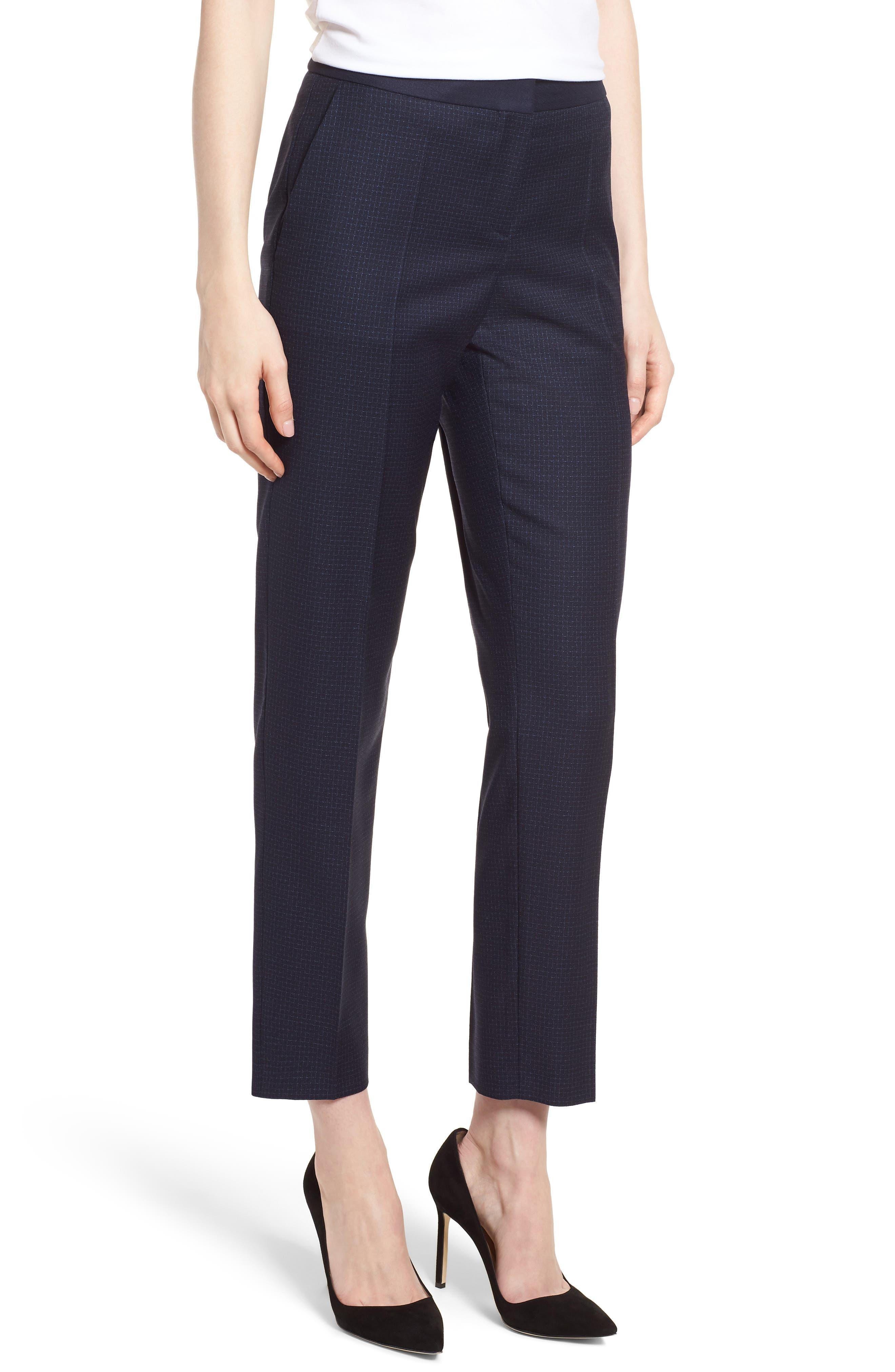 Tiluna Windowpane Slim Leg Trousers,                         Main,                         color,
