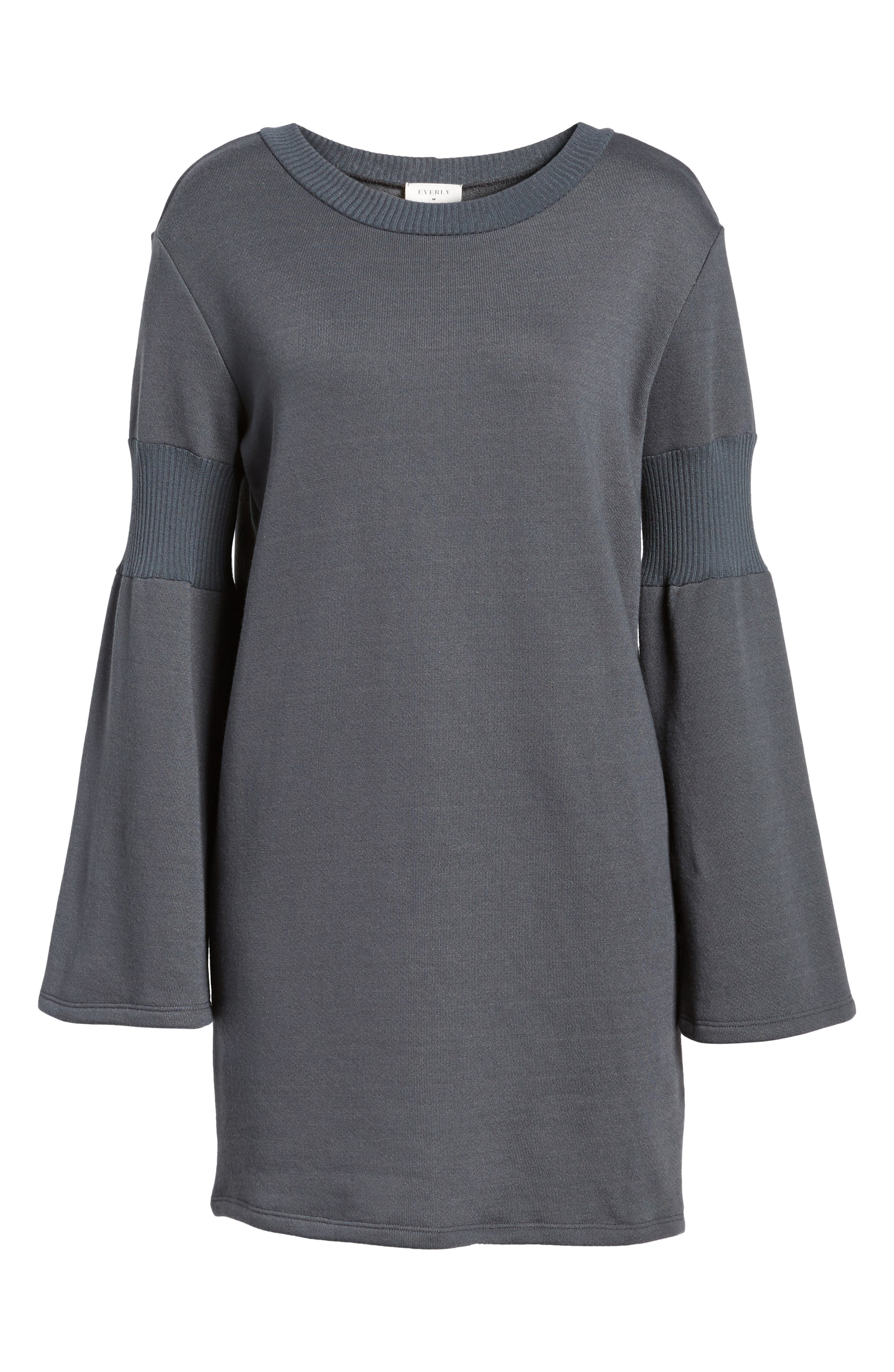 Bell Sleeve Sweatshirt Dress,                             Alternate thumbnail 6, color,                             020