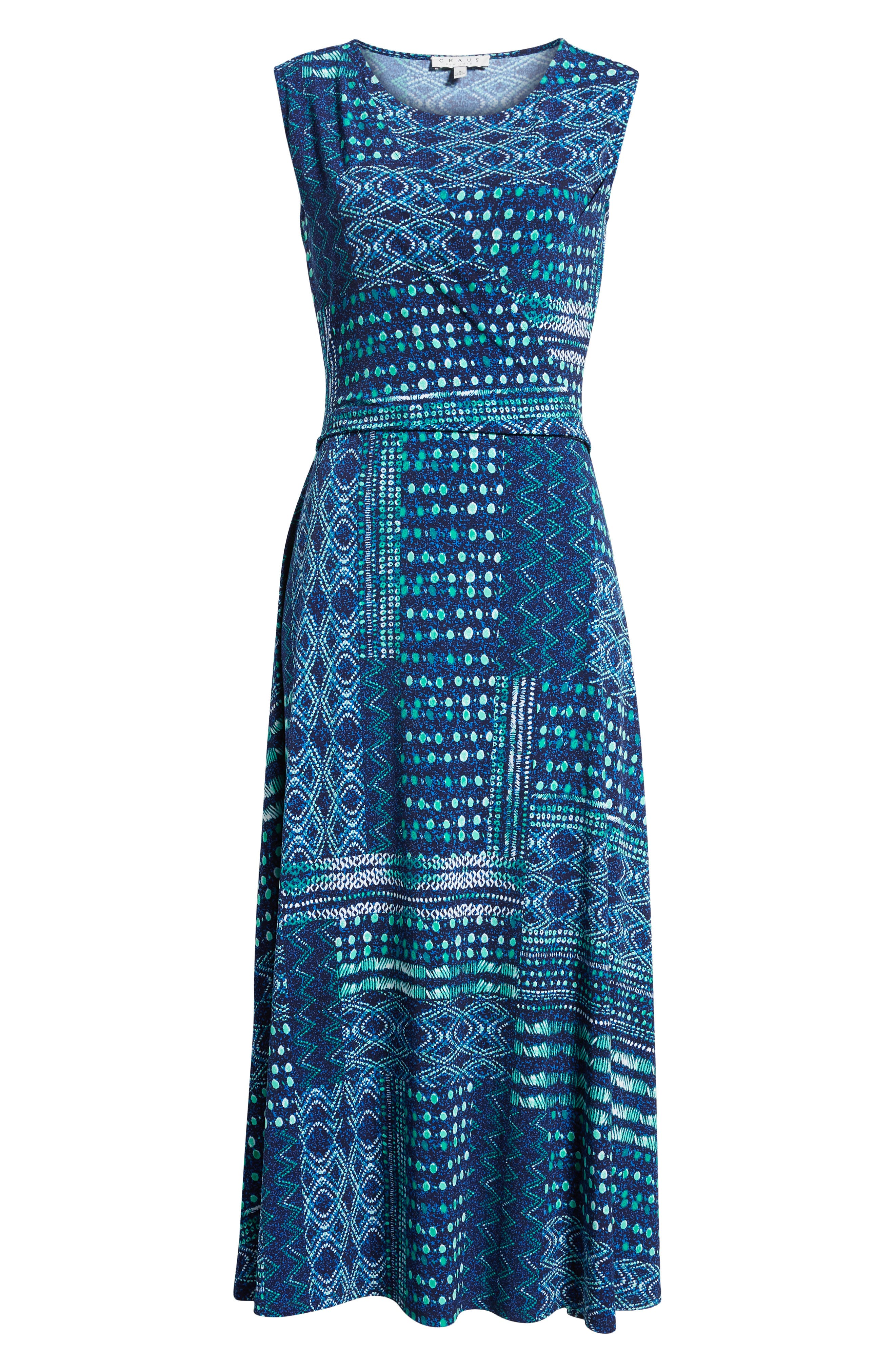 Patchwork Waves Ruched Stretch Jersey Dress,                             Alternate thumbnail 7, color,