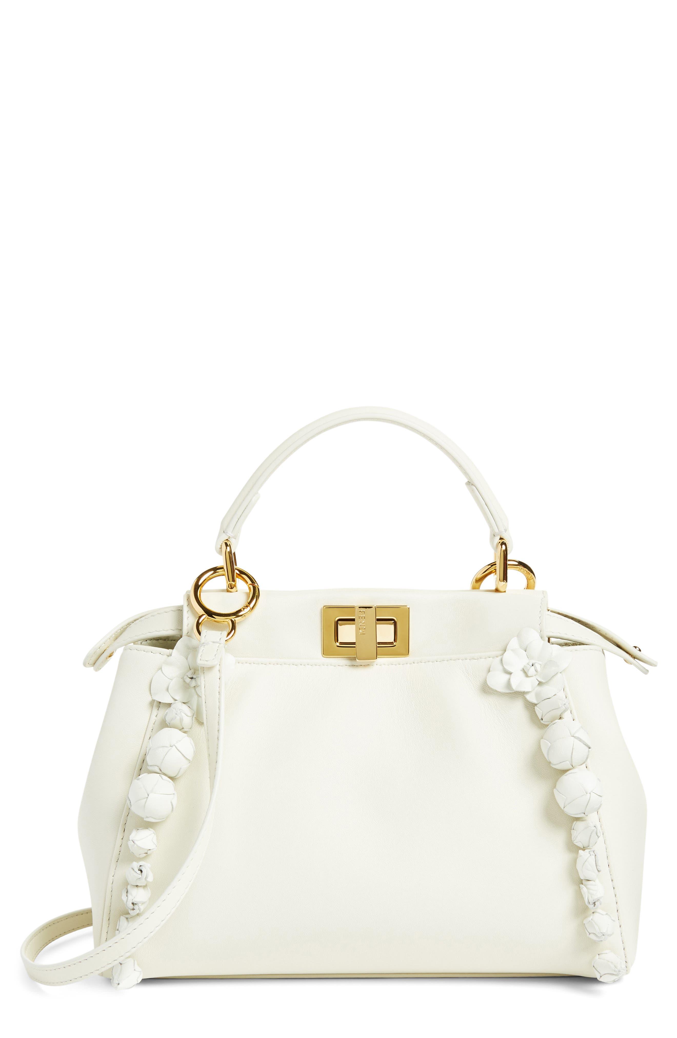 Mini Peekaboo Floral Leather Satchel,                             Main thumbnail 1, color,                             WHITE