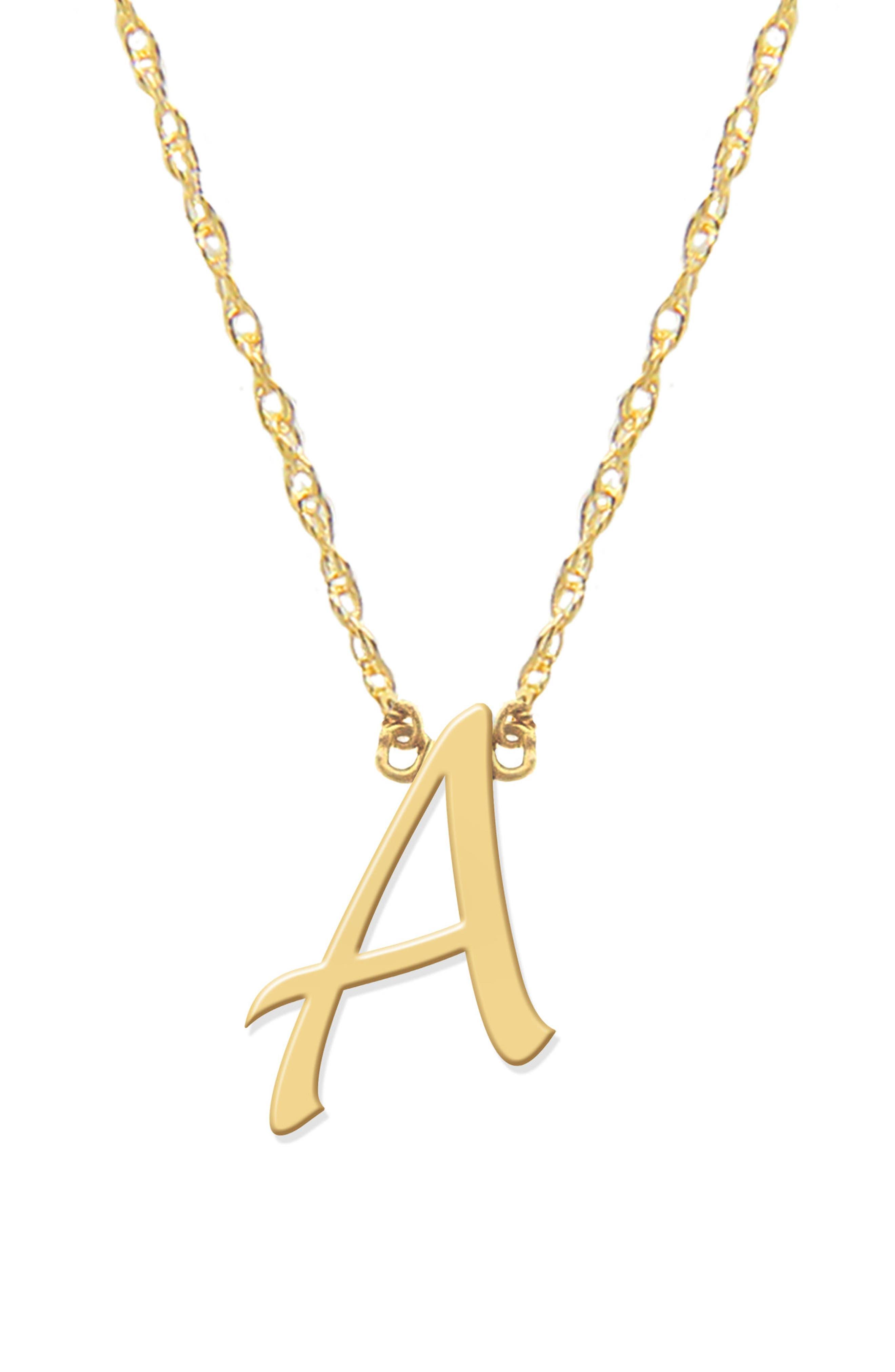 JANE BASCH DESIGNS Script Initial Pendant Necklace, Main, color, GOLD- A