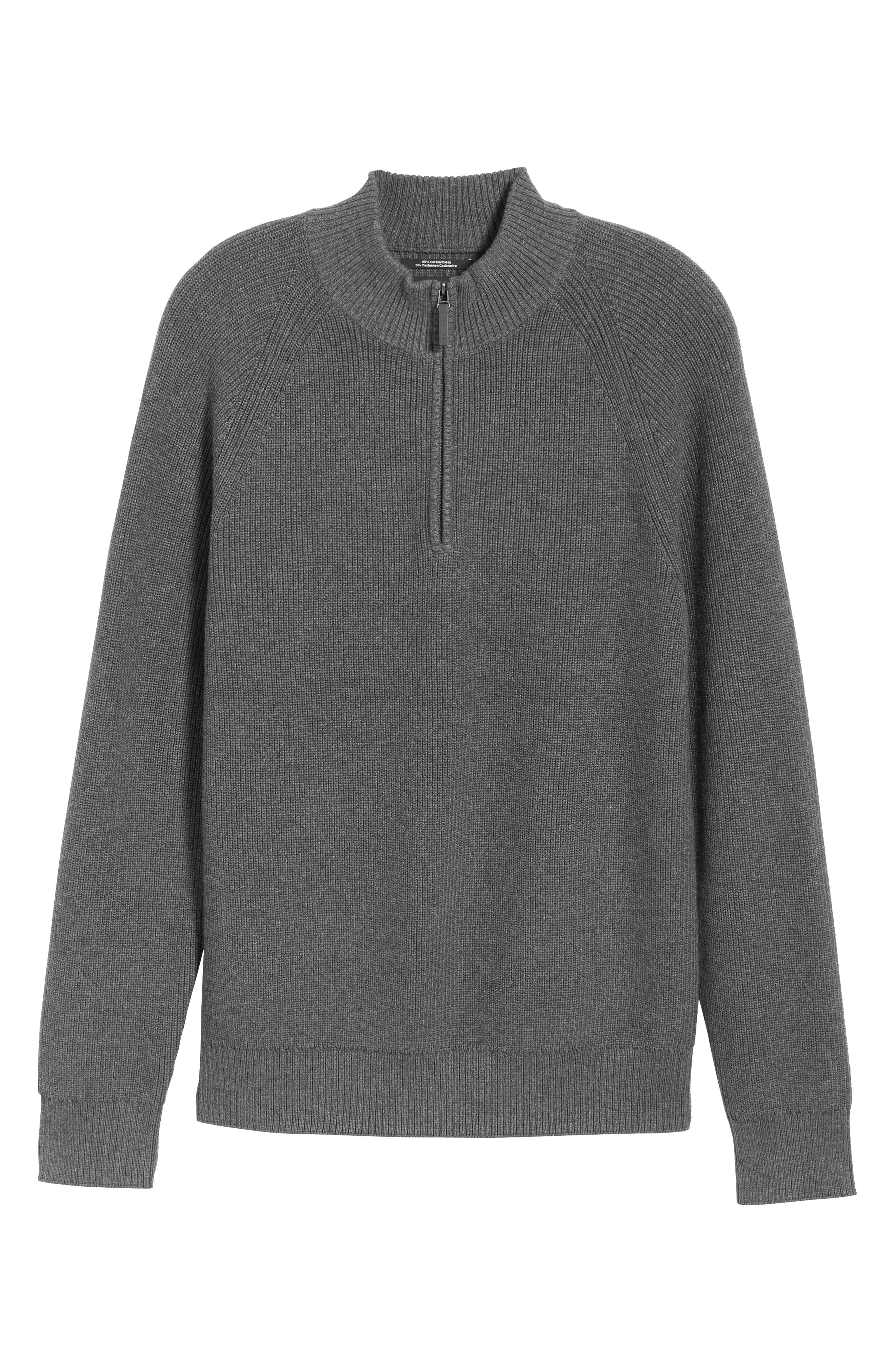 Ribbed Quarter Zip Sweater,                             Alternate thumbnail 6, color,                             GREY CASTLEROCK