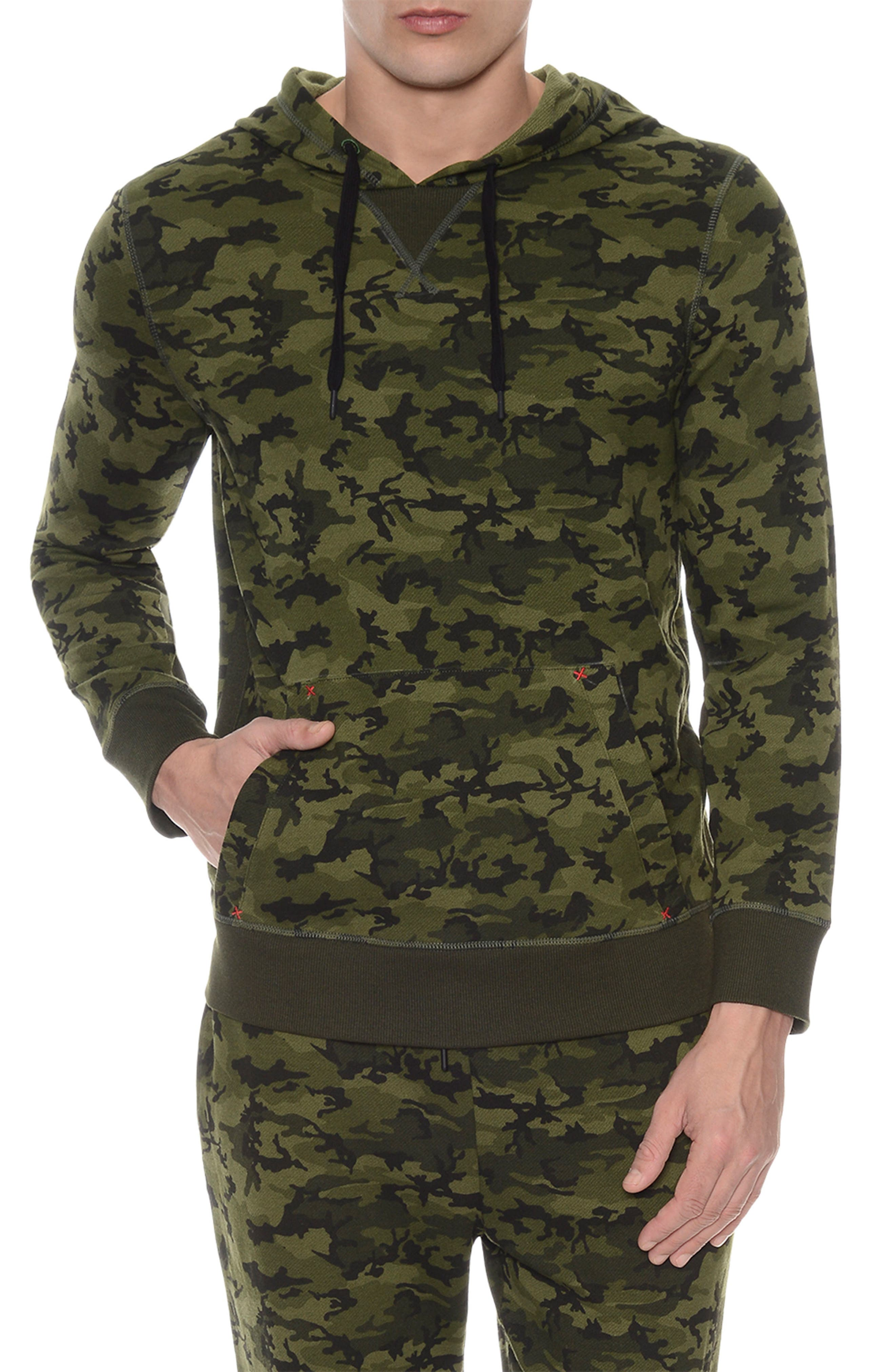 2(X)IST Hooded Pullover Sweatshirt in Olive Camo