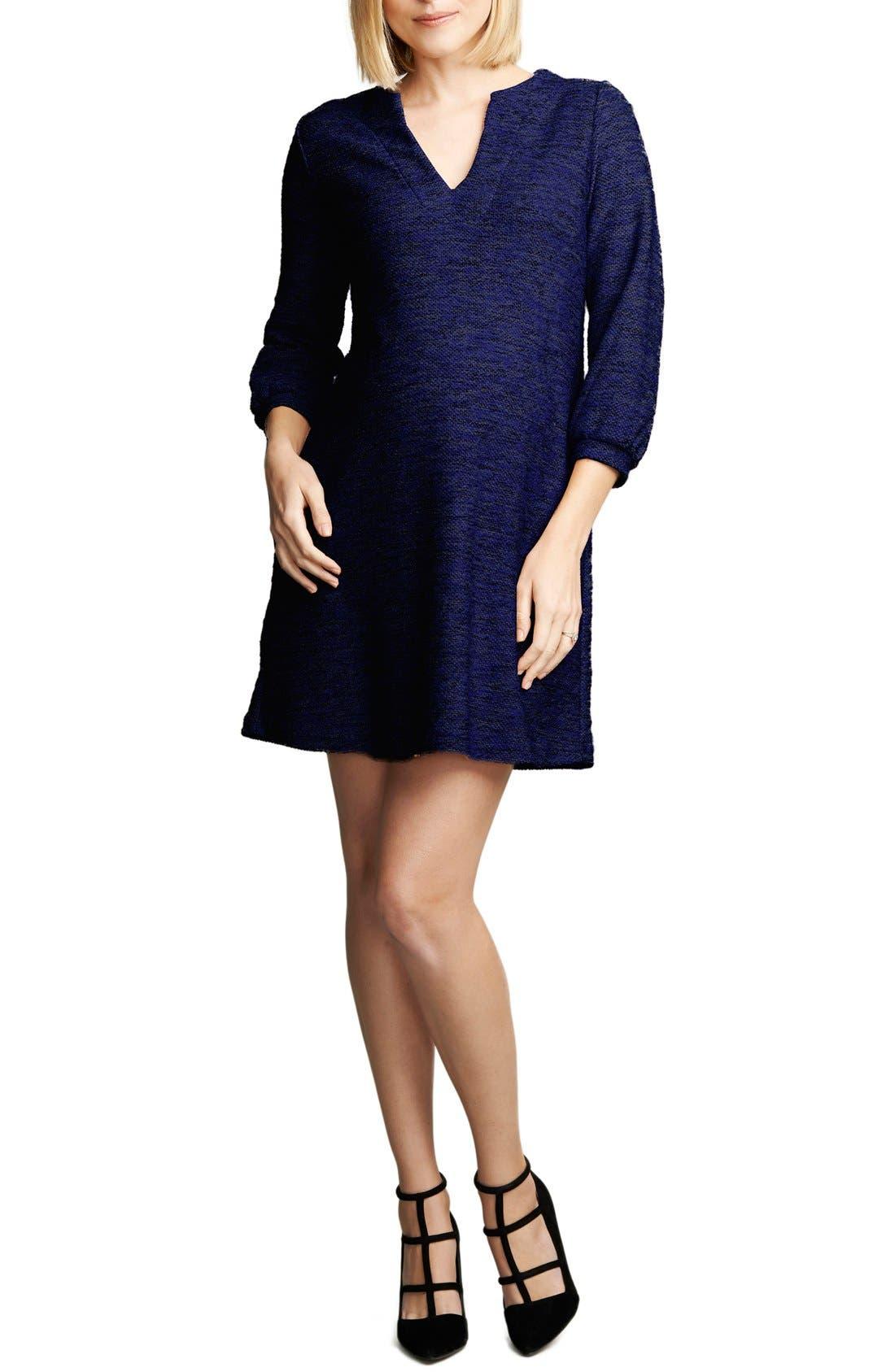 Shift Maternity Dress,                         Main,                         color, COBALT BOUCLE
