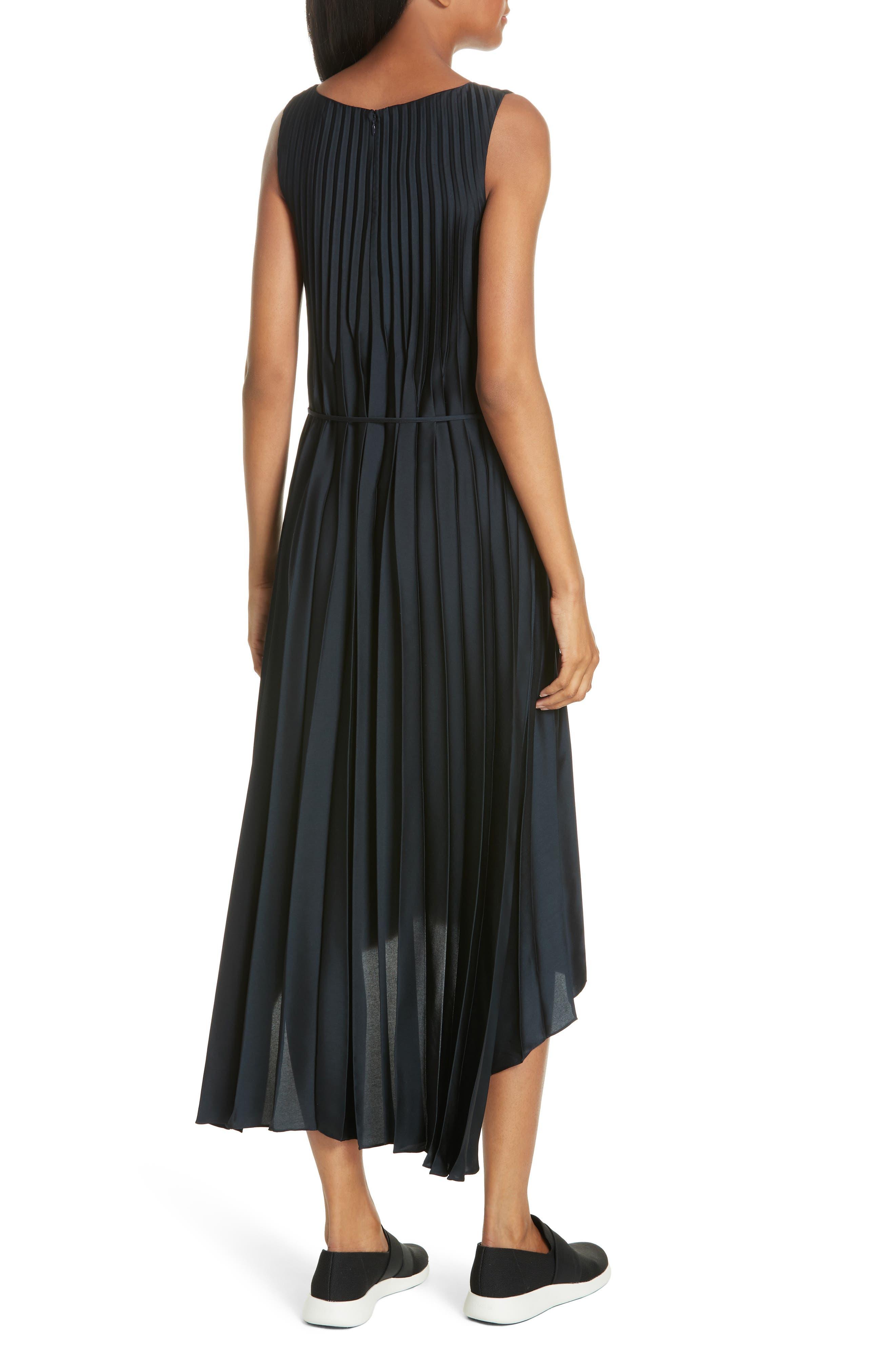 Chevron Pleat Midi Dress,                             Alternate thumbnail 2, color,                             COASTAL