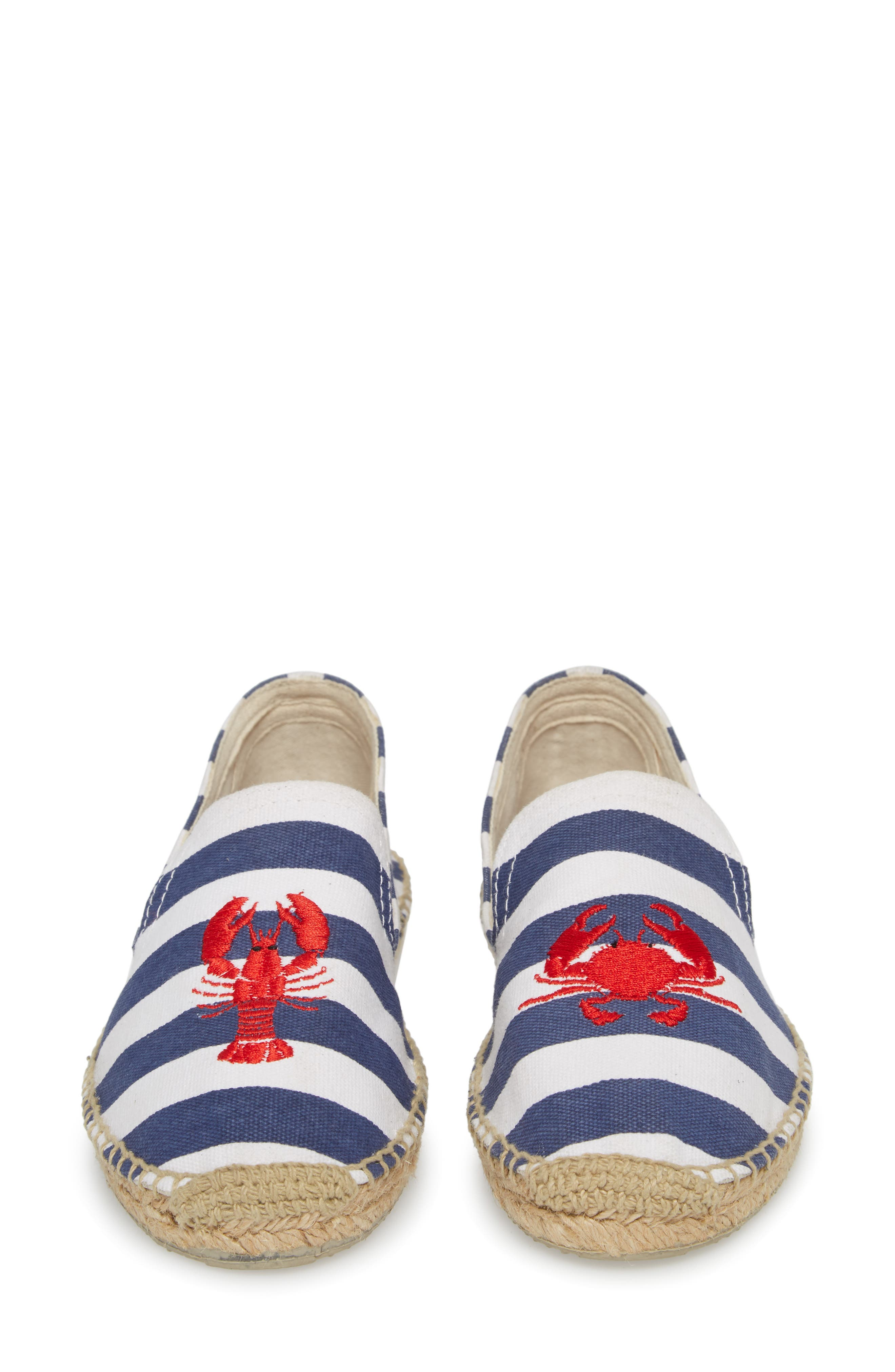 Embroidered Lobster & Crab Espadrille Flat,                             Alternate thumbnail 5, color,                             415