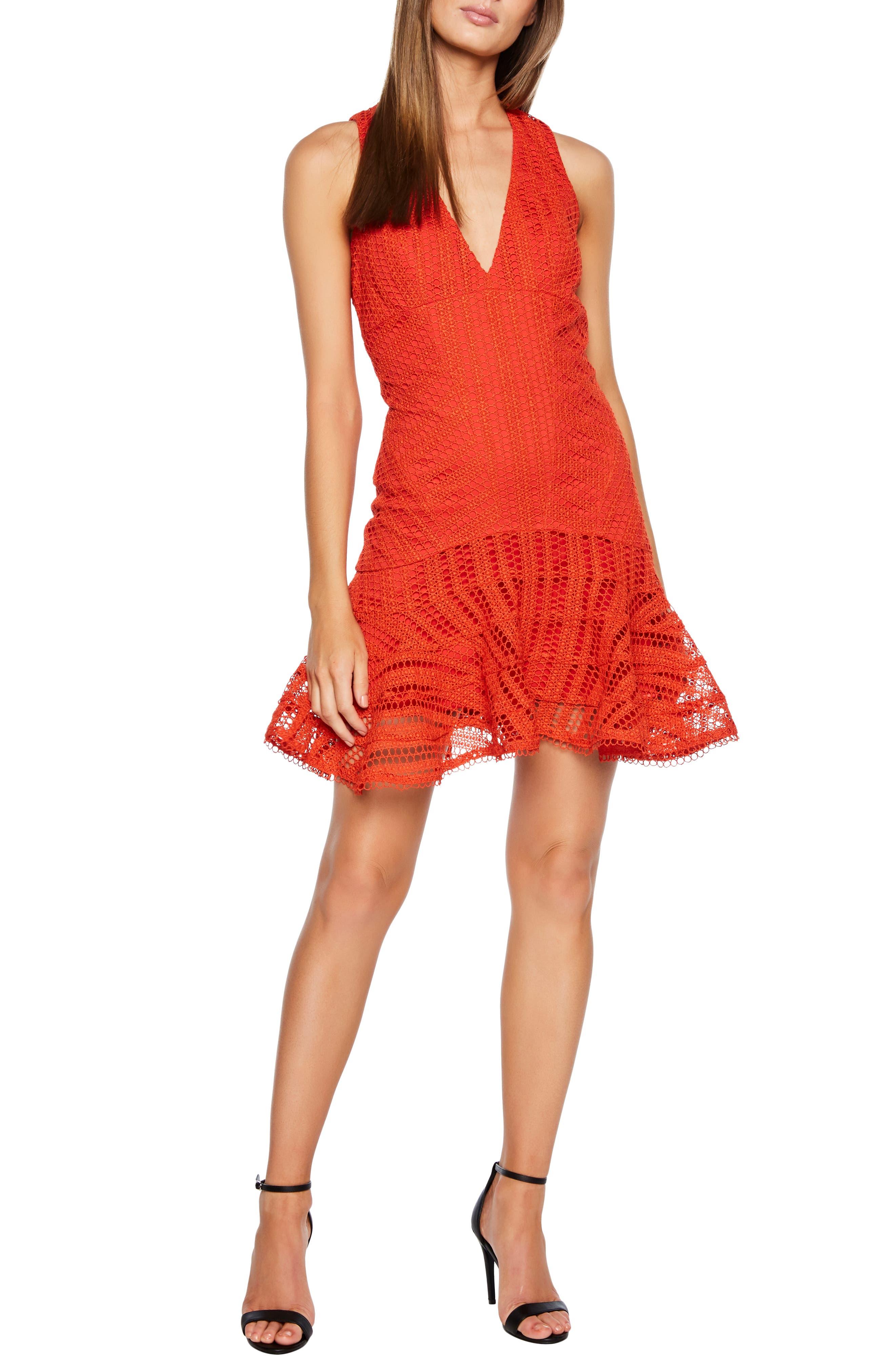 Bardot Fiesta Lace Cocktail Dress, Orange
