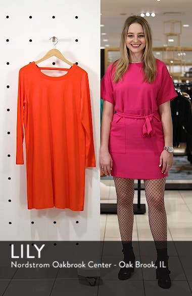 V-Back Stretch Tencel<sup>®</sup> Lyocell Shift Dress, sales video thumbnail