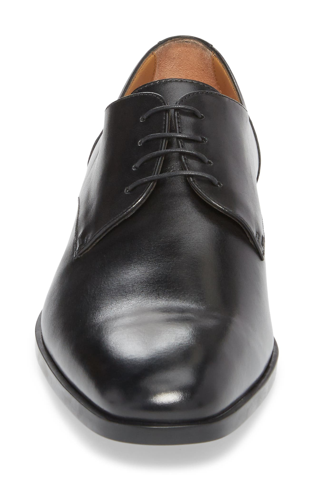 Portland Plain Toe Derby,                             Alternate thumbnail 4, color,                             BLACK LEATHER