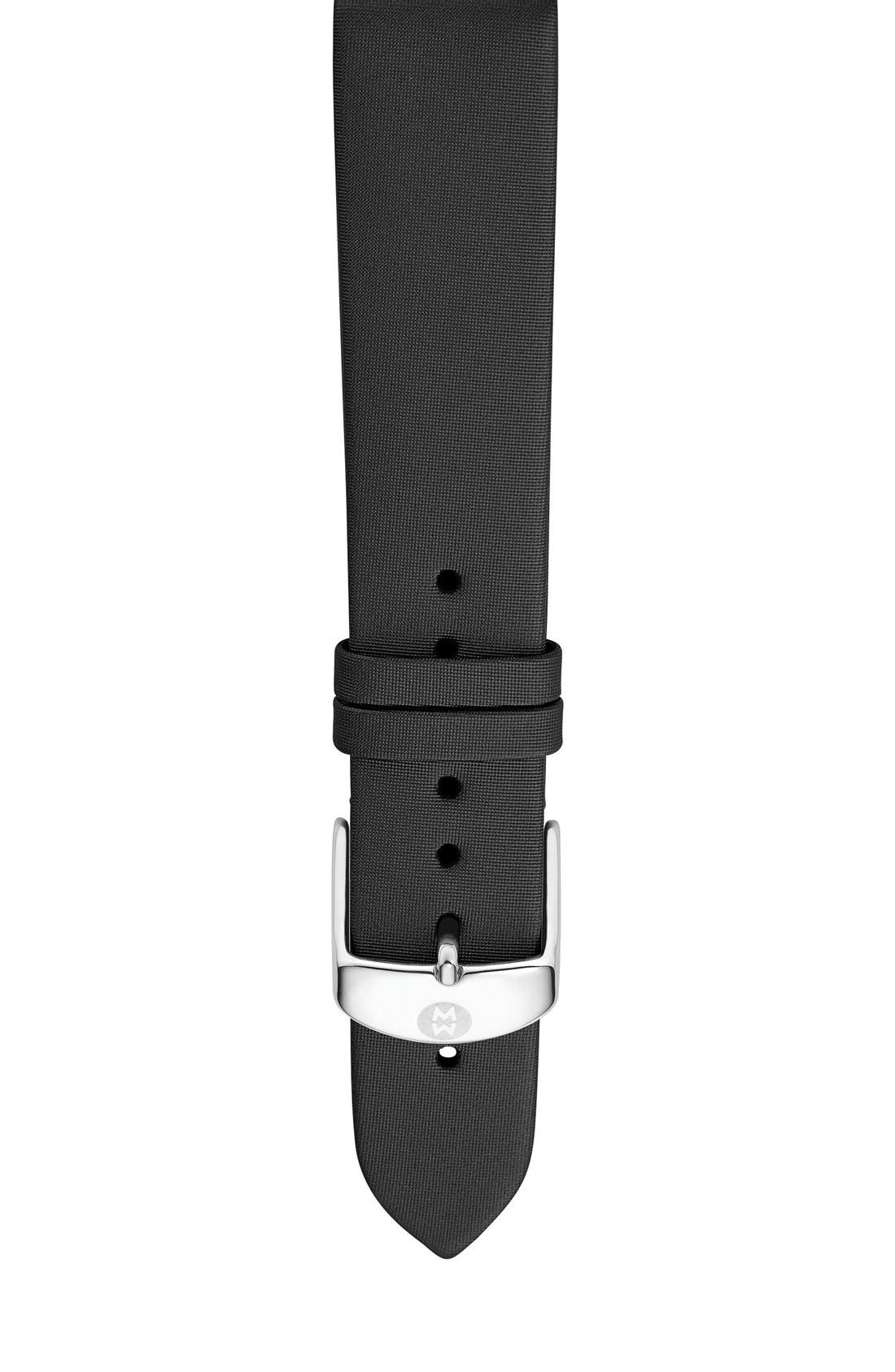 16mm Satin Watch Strap,                             Main thumbnail 1, color,                             BLACK