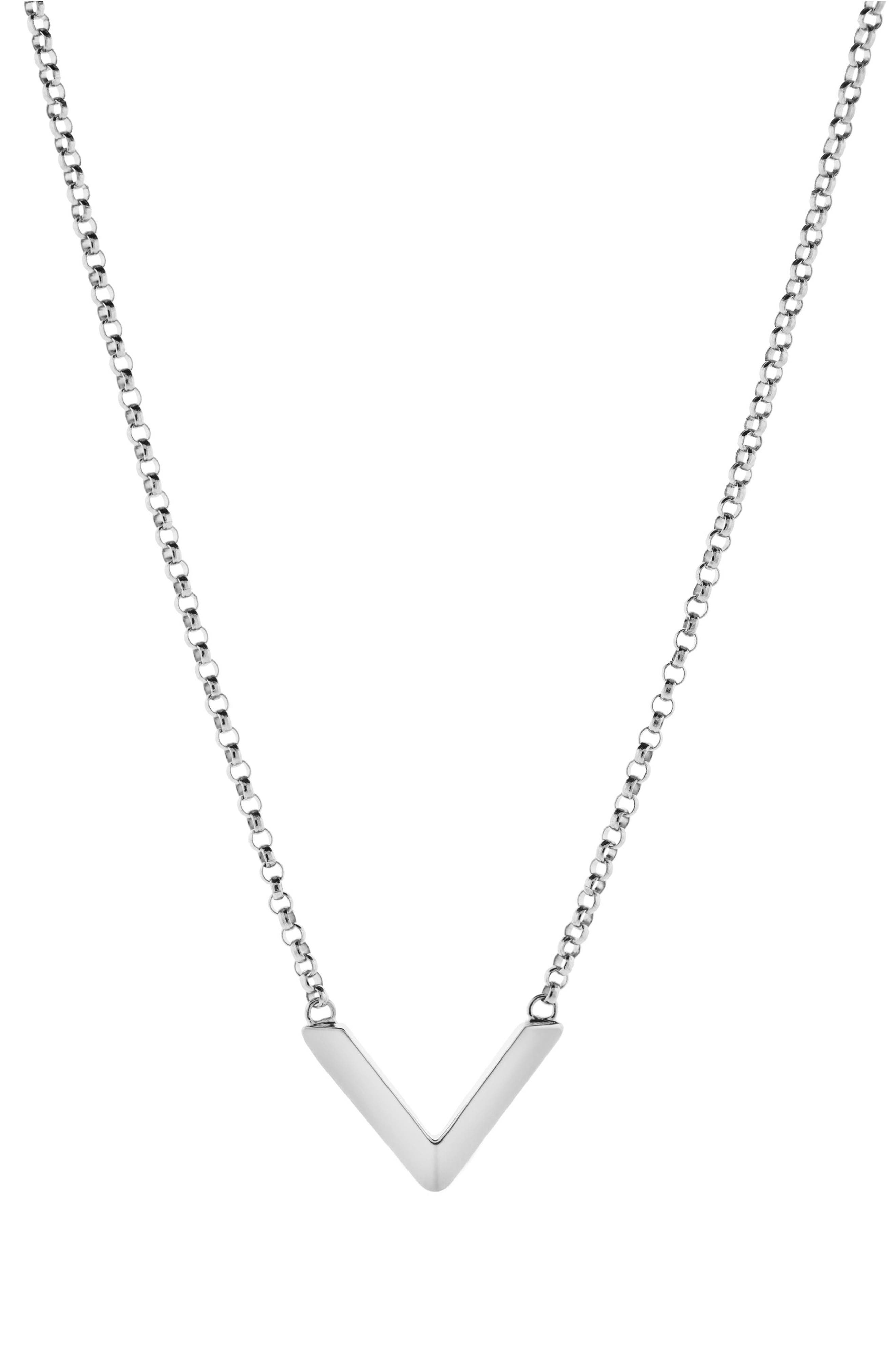 Angular Pendant Necklace,                             Main thumbnail 1, color,                             STERLING SILVER