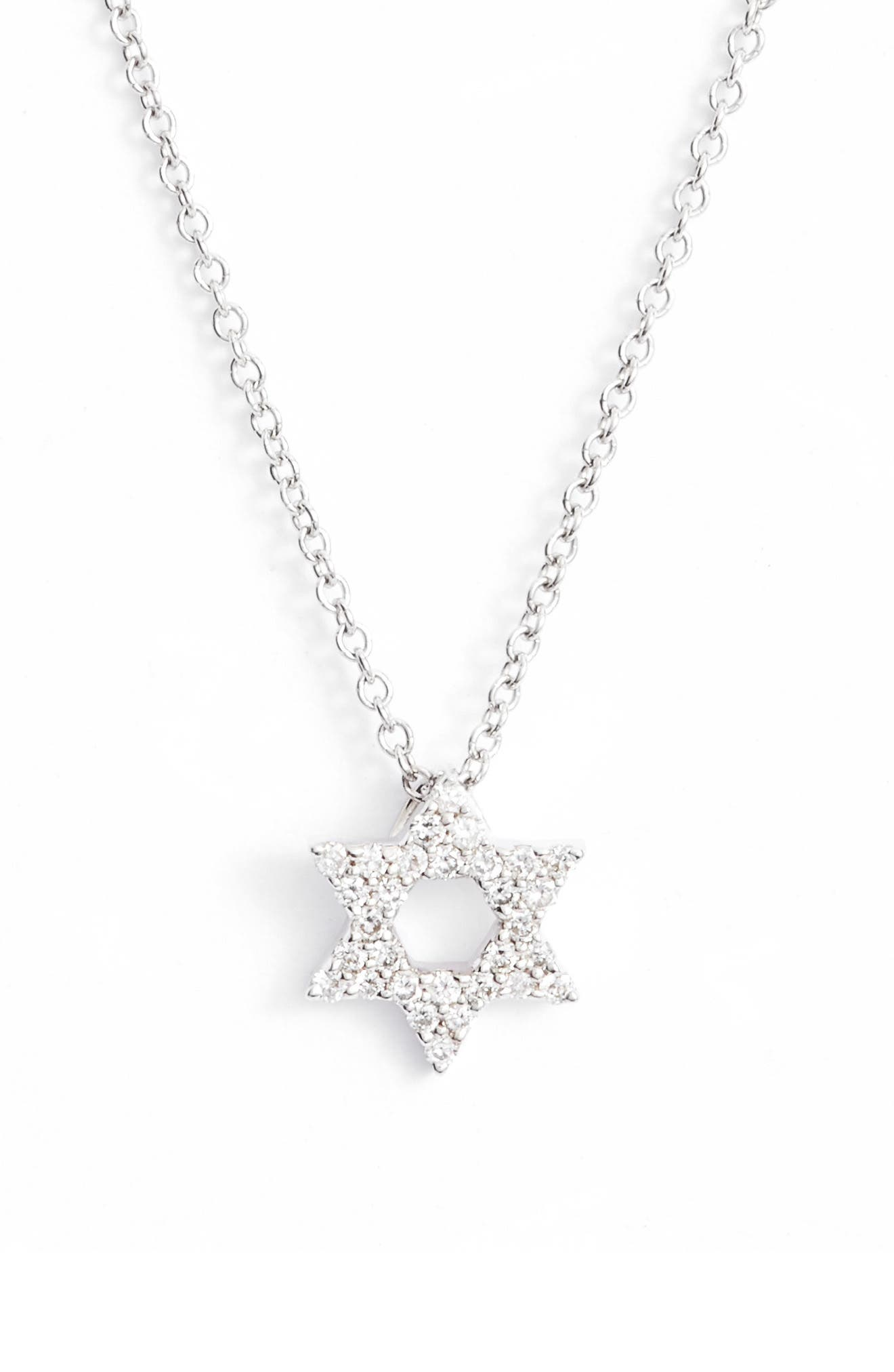 Star of David Diamond Pendant Necklace,                             Main thumbnail 1, color,                             WHITE GOLD