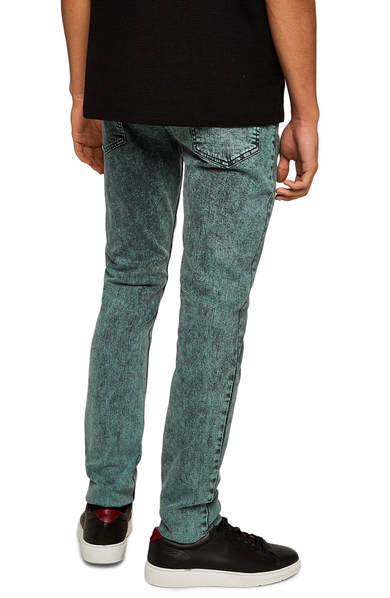 Acid Wash Stretch Skinny Jeans,                             Alternate thumbnail 2, color,                             BLUE/GREEN MULTI