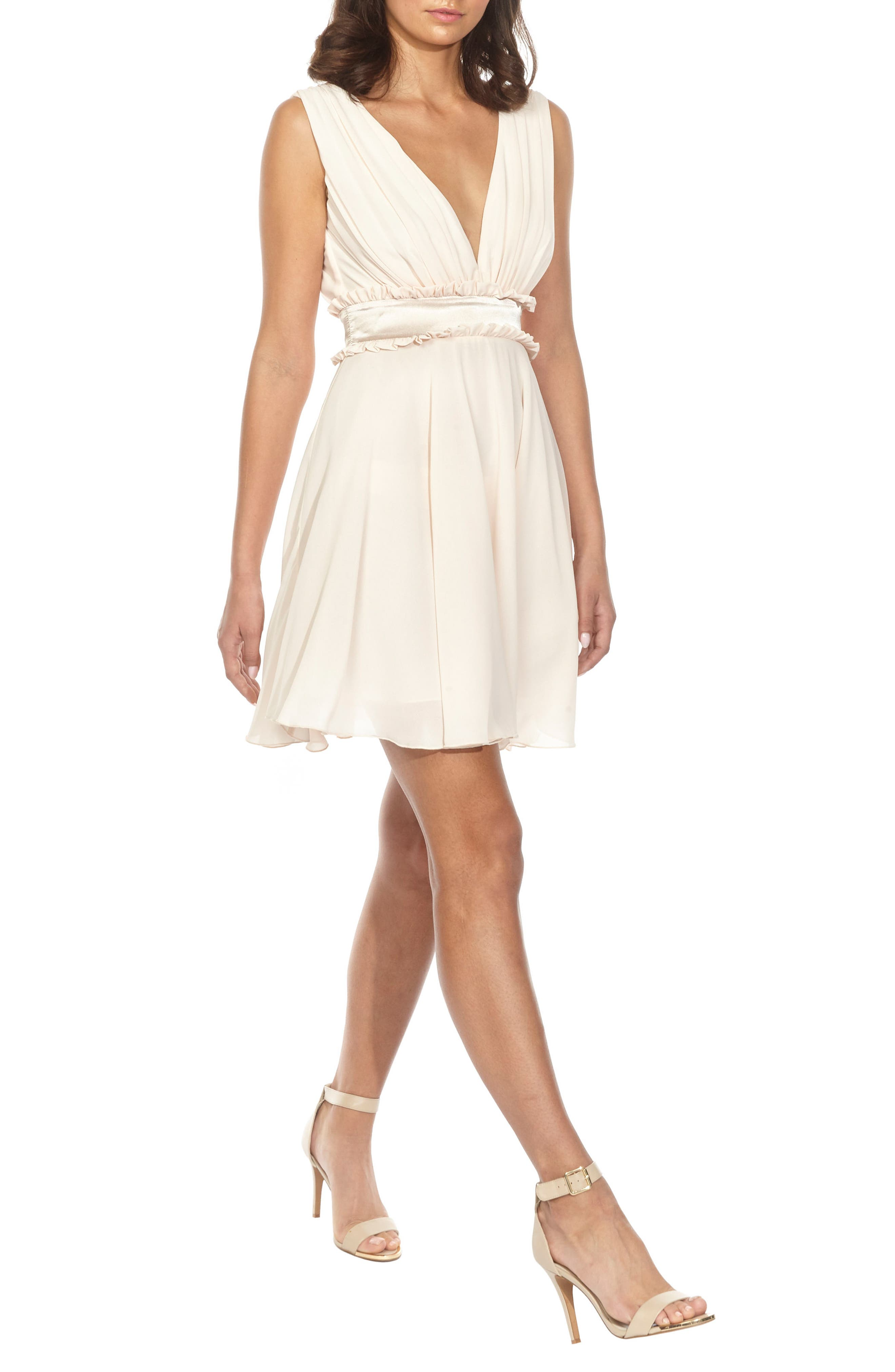 Joany Ruffle Waist Fit & Flare Dress,                             Alternate thumbnail 3, color,                             250